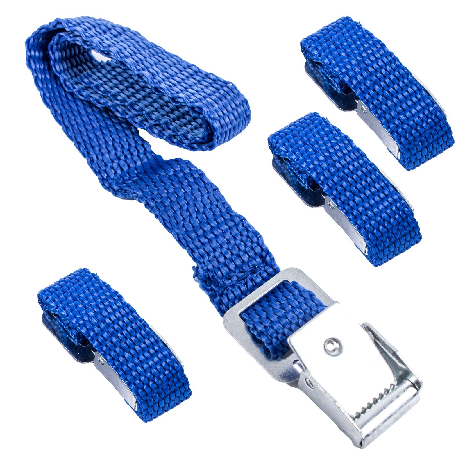 Befestigungsriemen für Fahrradträger blau 4er Set 40 cm Metallschnallen
