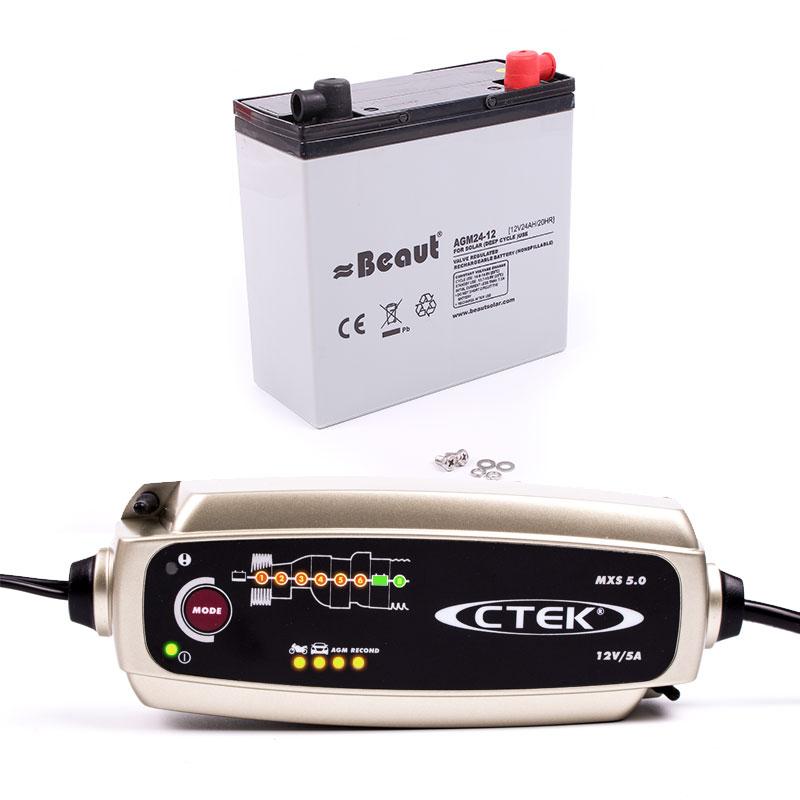 Batterieset für elektrische Rangierhilfe, C-tek Ladegerät