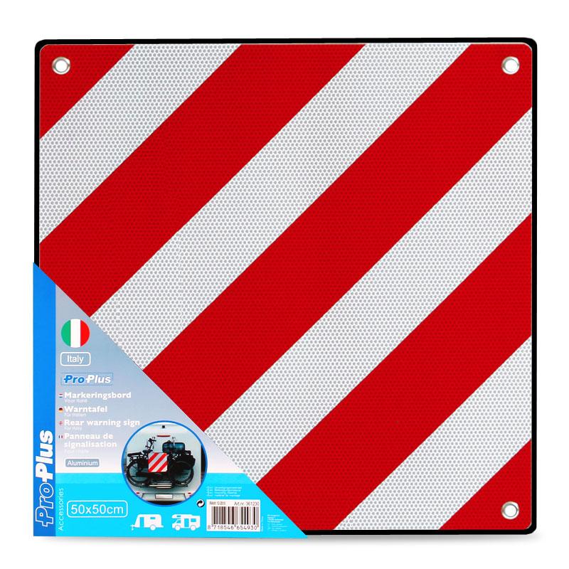 Warntafel Italien, Aluminium mit Ösen, 50x50cm reflektierend, rot/weiß