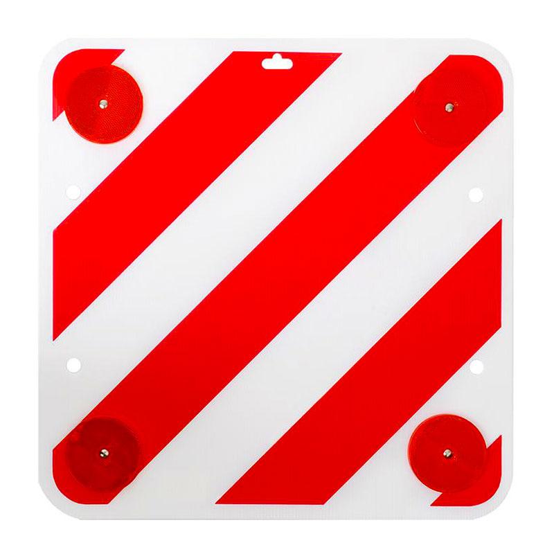 Warntafel mit Reflektoren, 50x50, Kunststoff, rot/weiß
