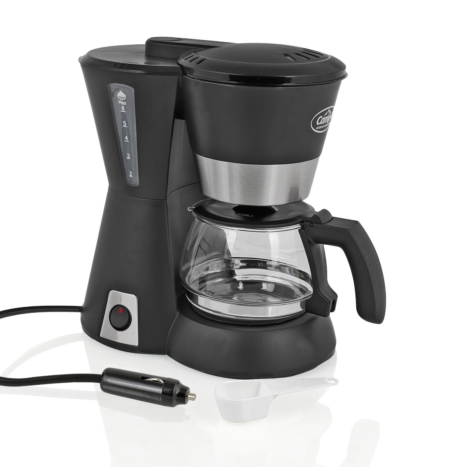 Camp4 Kaffemaschine 12 Volt für 6 Tassen, 170 Watt, Dauerfilter