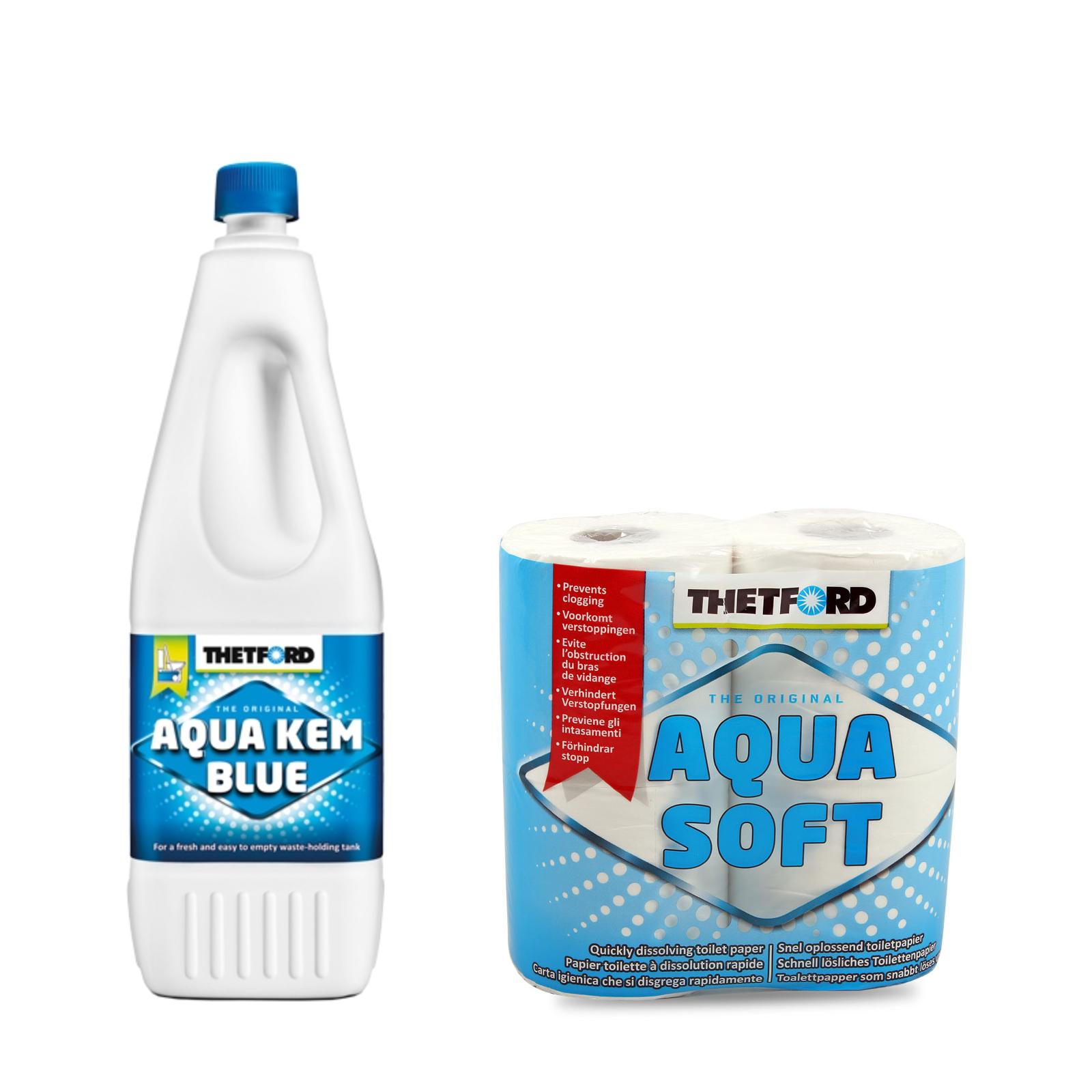 Thetford Aqua Blue 2L Toiletten Zusatz für den Abwasserbehälter + Aqua Soft