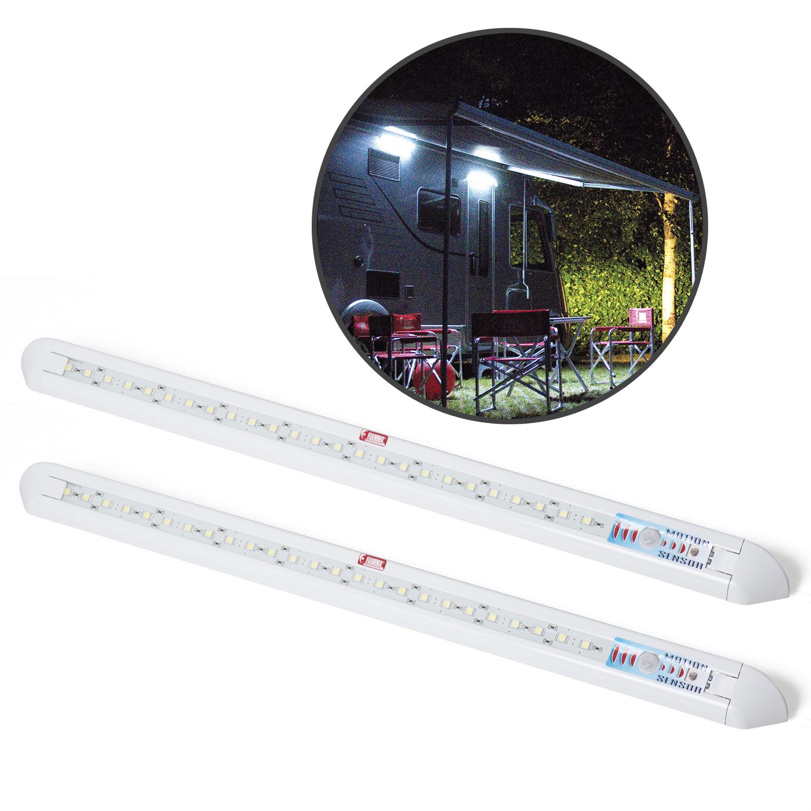 2x Fiamma Led Außen Leuchte mit Bewegungsmelder 12 V 31 weiße LED extra hell