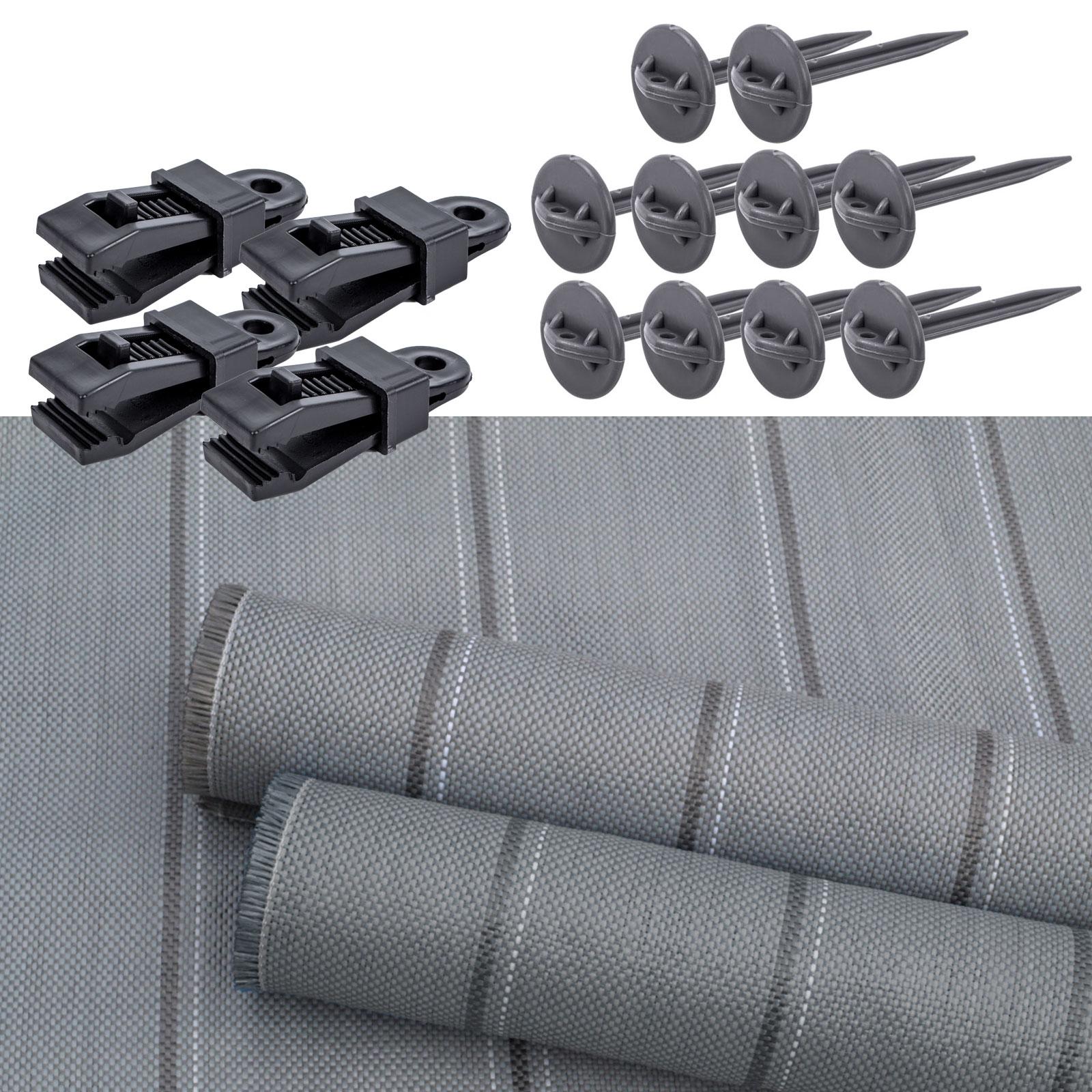 Arisol Vorzeltteppich grau Set + Teppichclips & Zeltheringe 2,5x6m