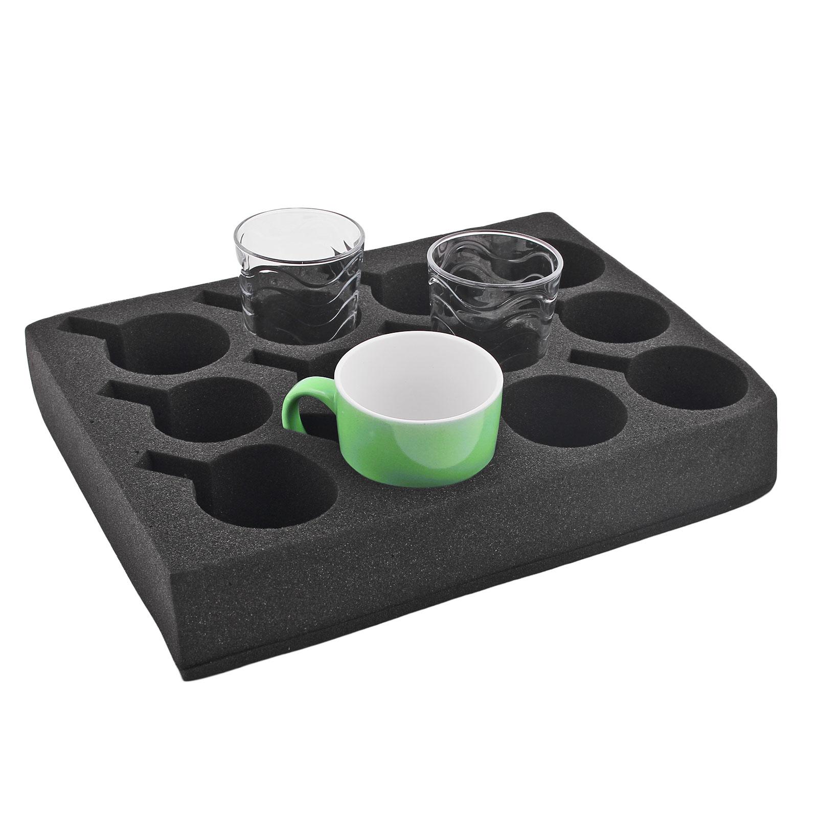 Tassenhalter Glashalter | 12er | schwarz |Spezialschaum |330x245x60 mm