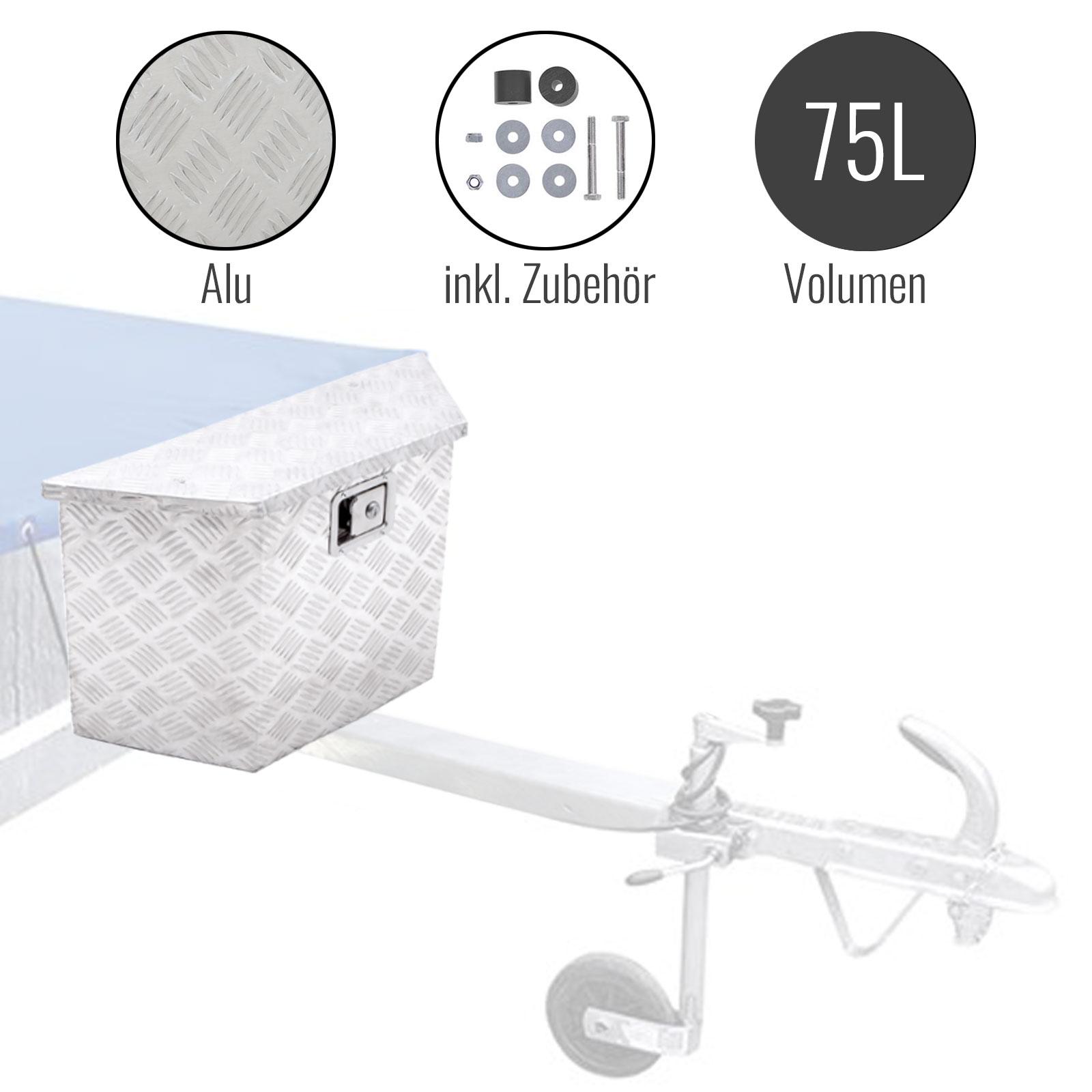 Anhänger Werkzeugbox | Alu | 700x380x240x420mm | inkl Montagesatz | Deichselbox
