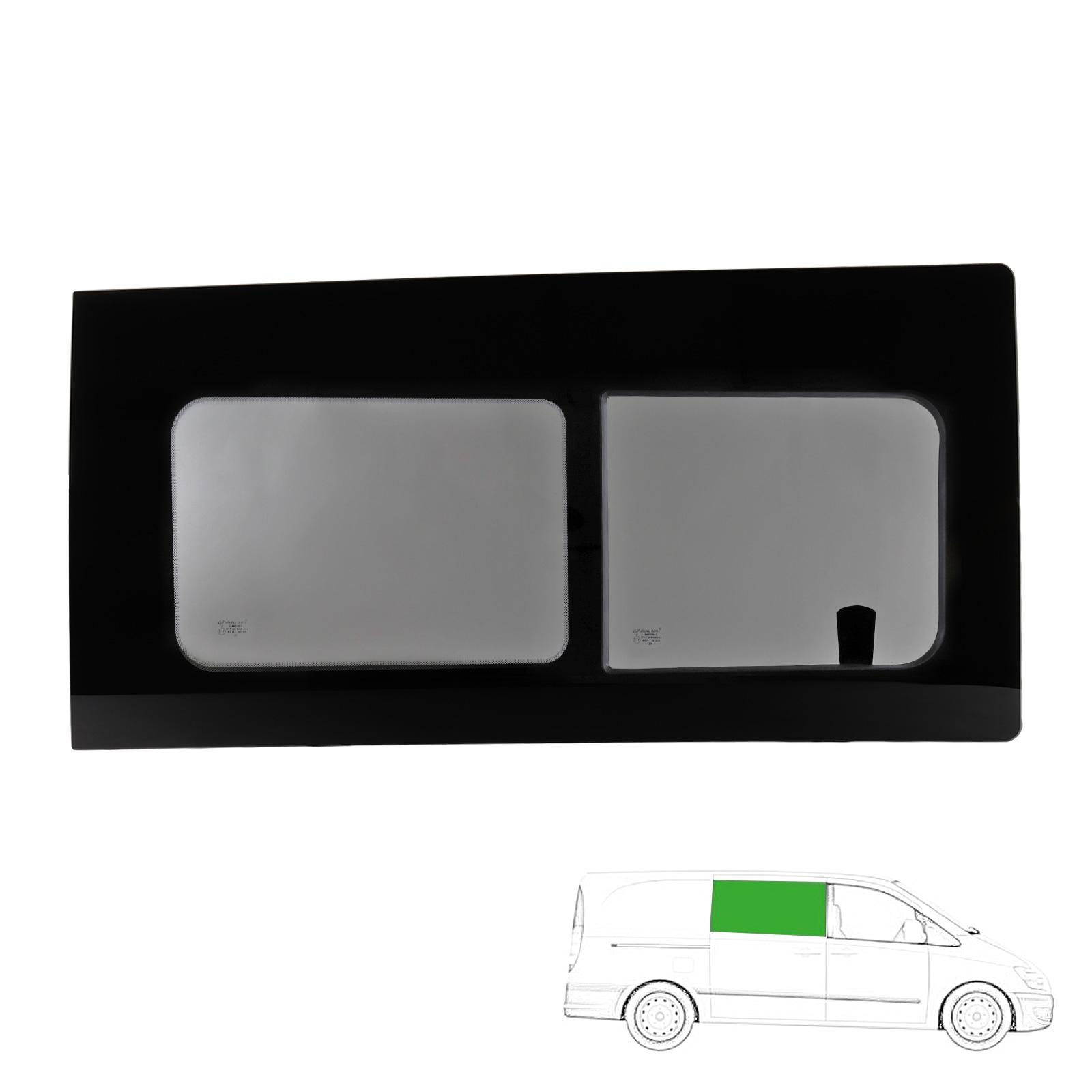 Schiebefenster Glasfenster passend für Vito 04-15 rechts, Echtglas, 111x56 cm