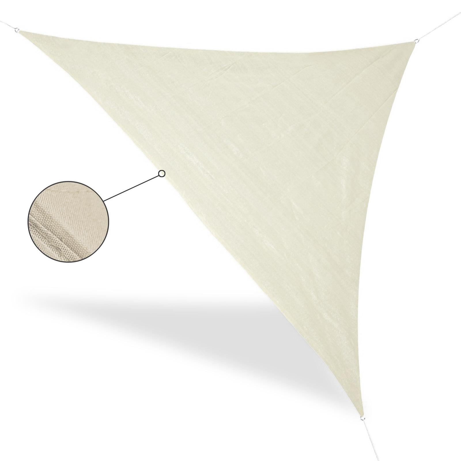 Sonnensegel Dreieck Beige 5 x 5 x 5 m, Metallringe, Abspannleinen