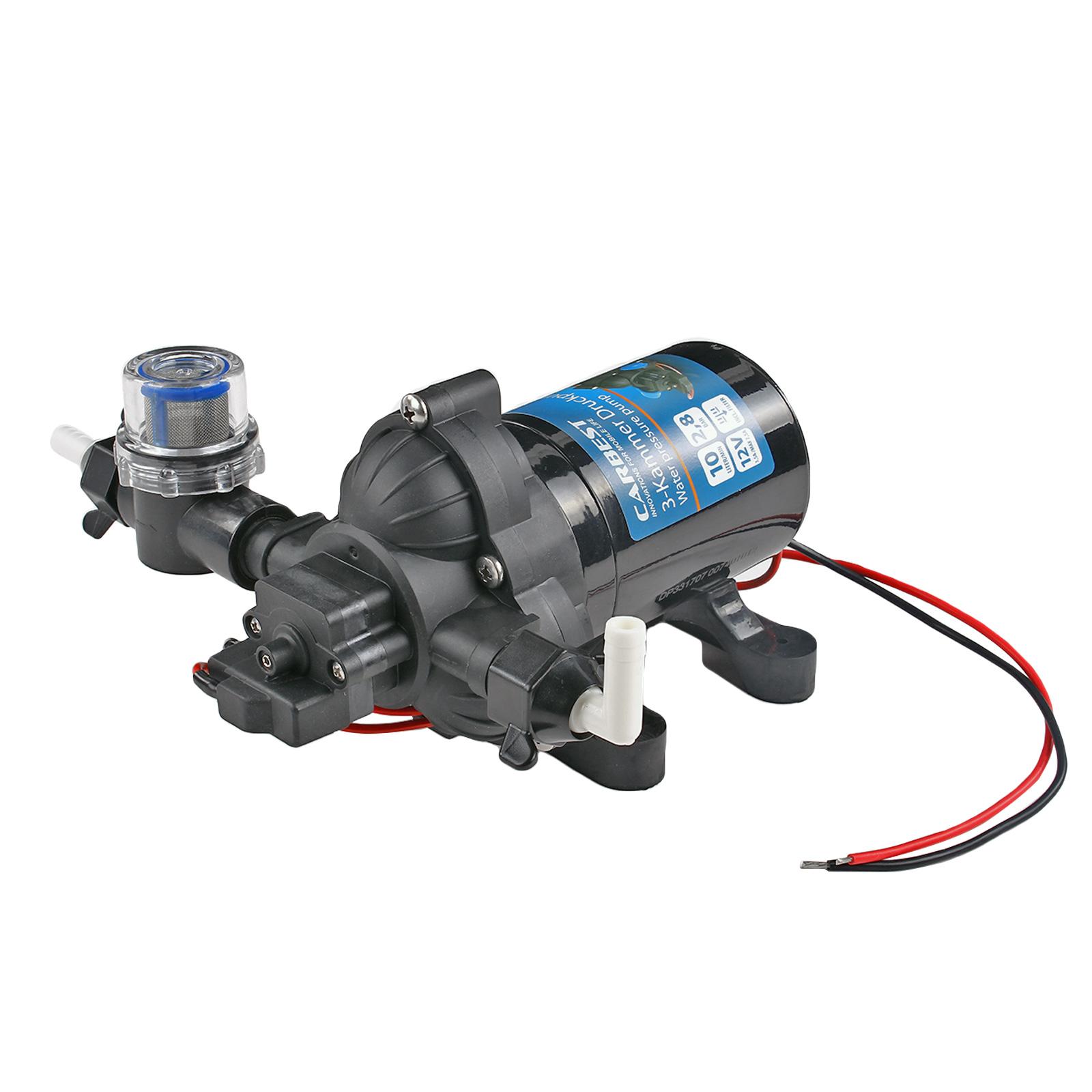 Wasserpumpe 12V 10 Ltr/Minute 2,8 Bar inkl Vorfilter 3 Kammer Membran