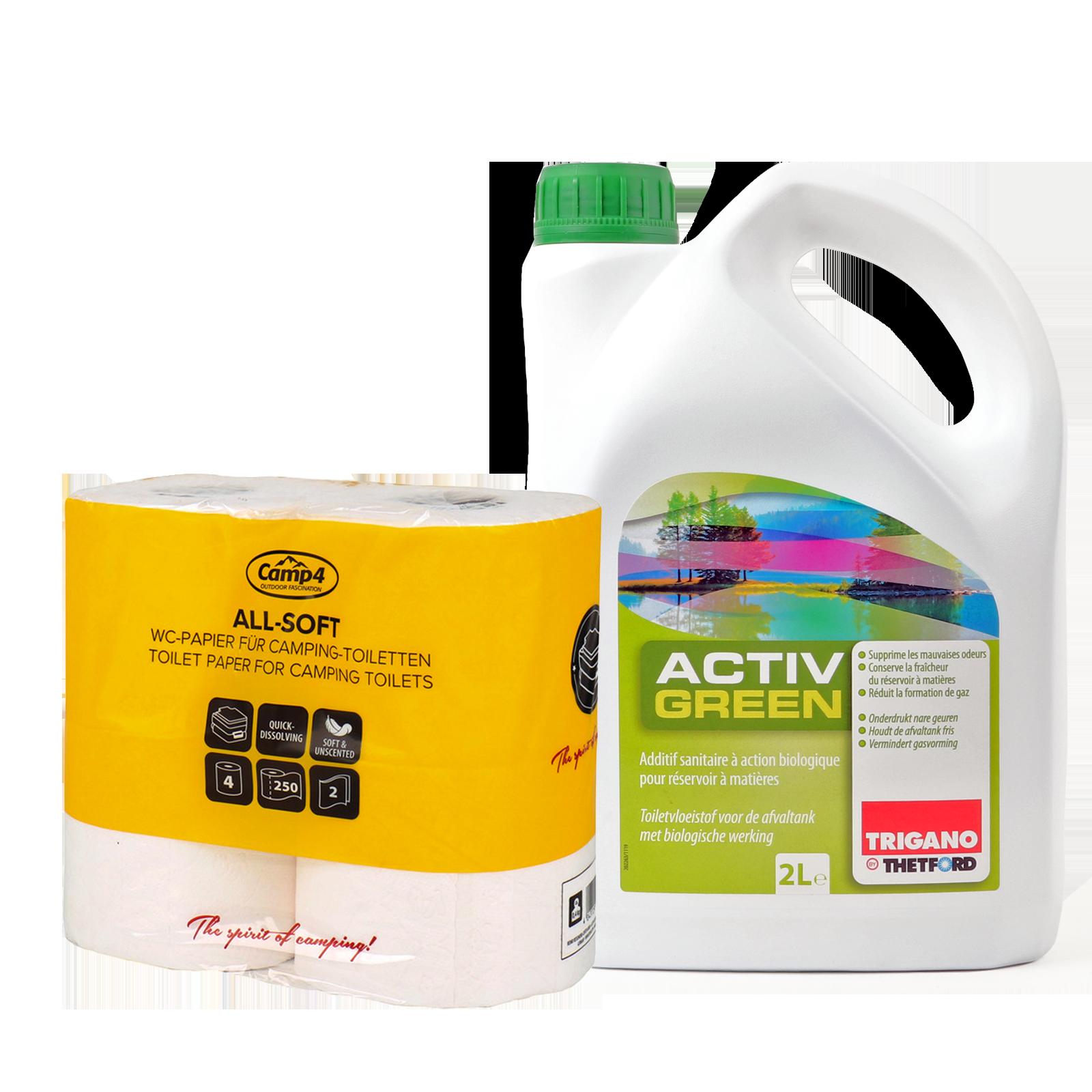 Thetford Activ Green Toiletten Zusatz Abwasserbehälter 2L biologisch abbaubar + Allsoft