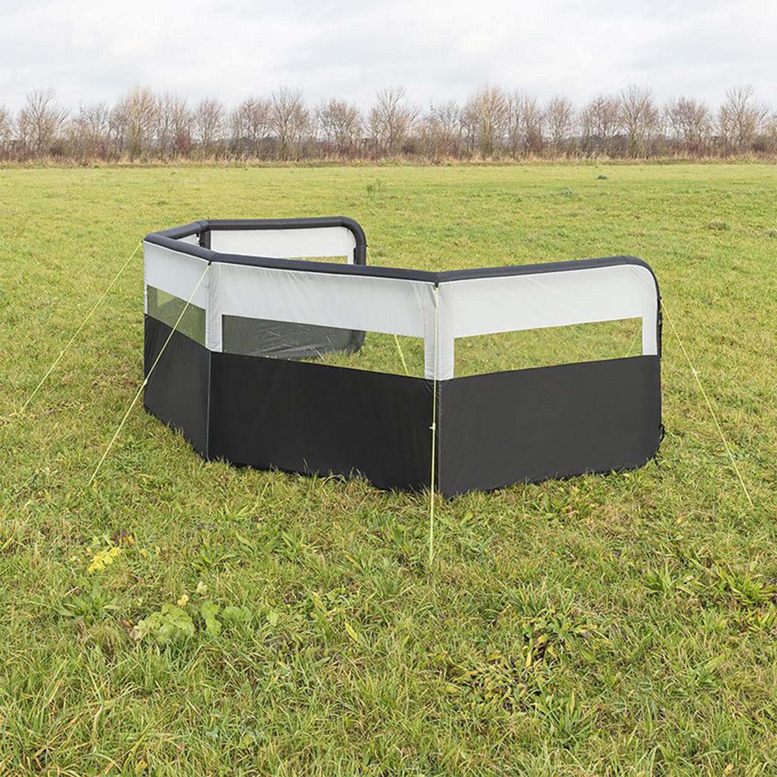 Windschutz Windbarikade aufblasbar | 150D Polyester | 840x140 cm | grau
