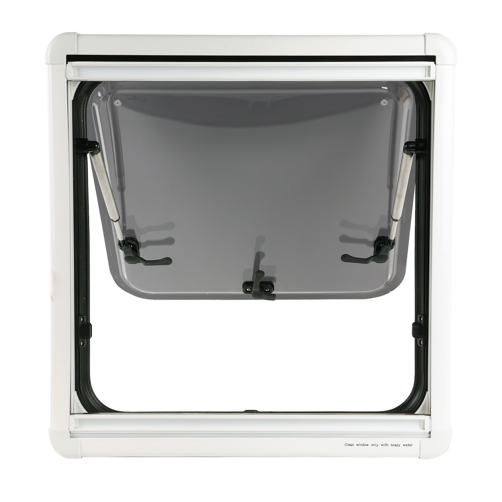 Ausstellfenster für gewölbte Wände, 490x500 inkl. Plissee und Dichtmasse