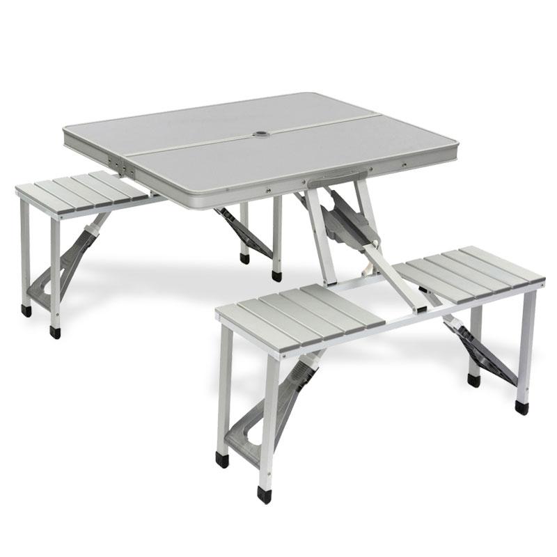 Aluminium Picknicktisch 4 Sitze, 86x68x41 cm, klappbar zum Tragekoffer