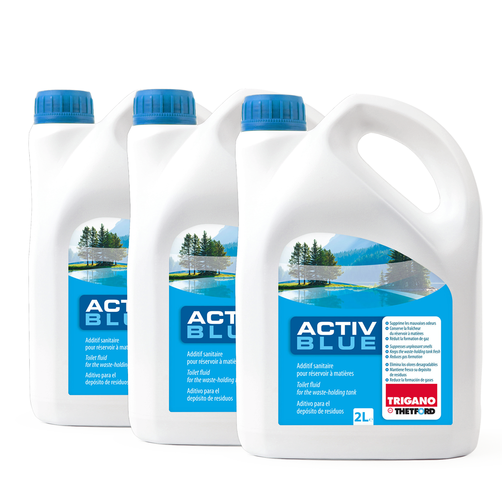 3x Thetford Activ Blue Toiletten Zusatz für den Abwasserbehälter 2 L