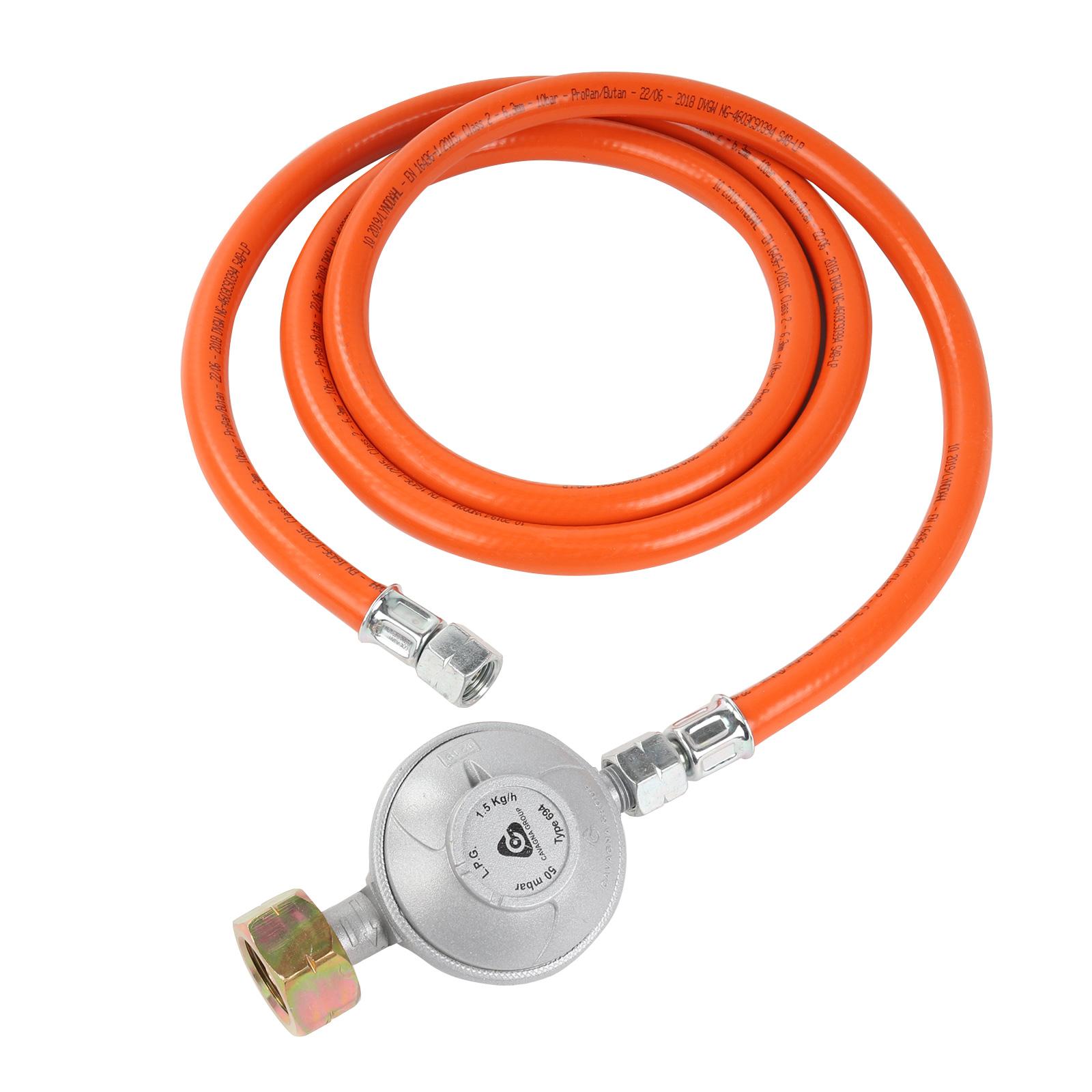 "Gasdruckregler 50mbar  1,5M Schlauch   Schraubanschlüssen 1/4"" links   G607 🔥"