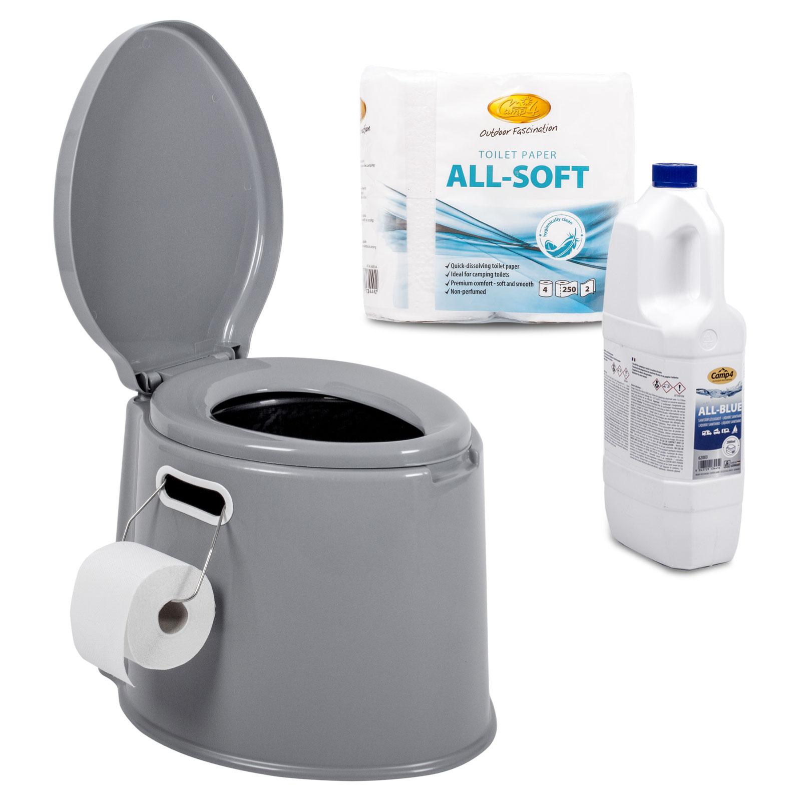 Tragbare Campingtoilette + Camp4 Toilettenpapier, Toilettenflüssigkeit