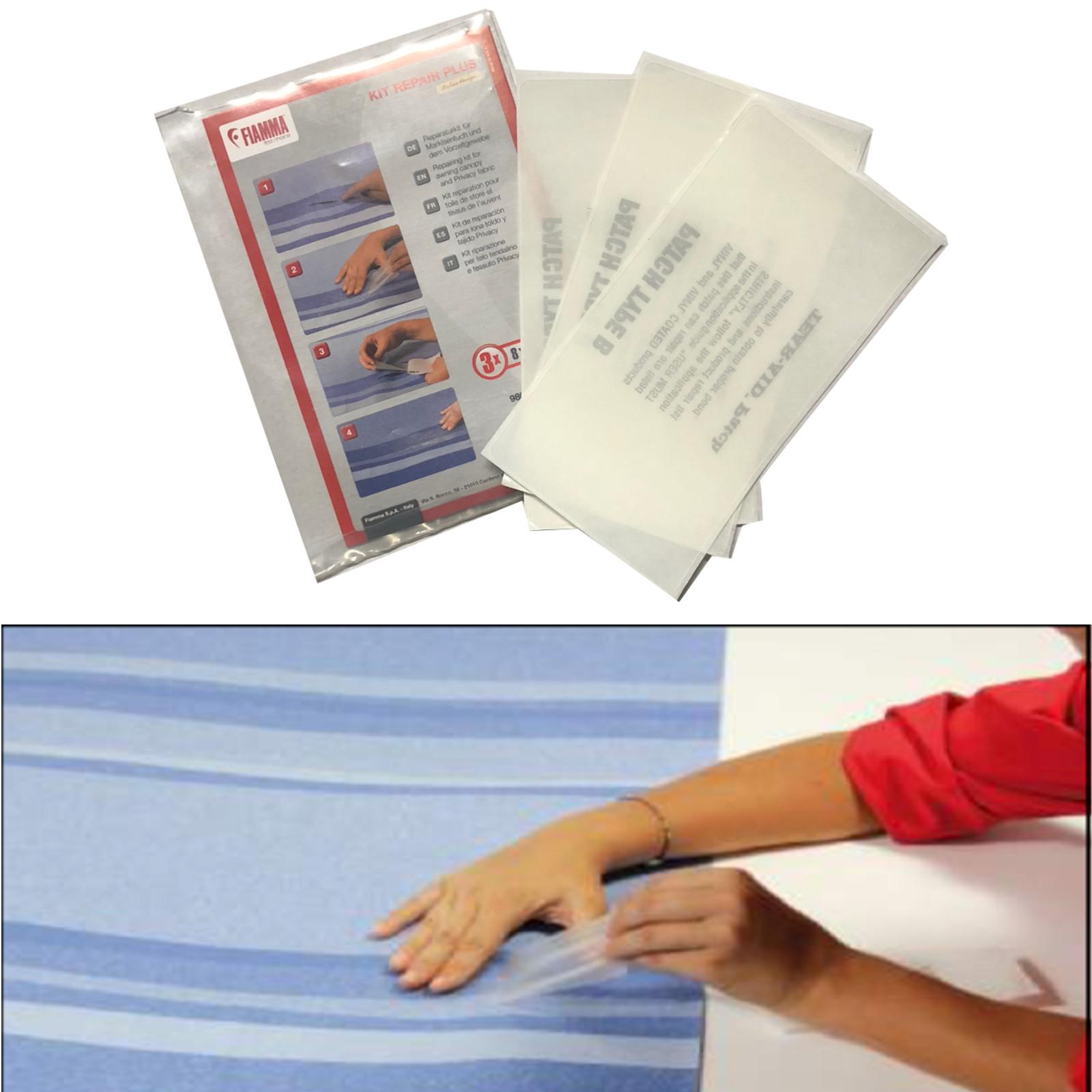 Fiamma Kit Repair Plus Reparatur Kit 3er Set für Markisen und Vorzelte 8x15 cm