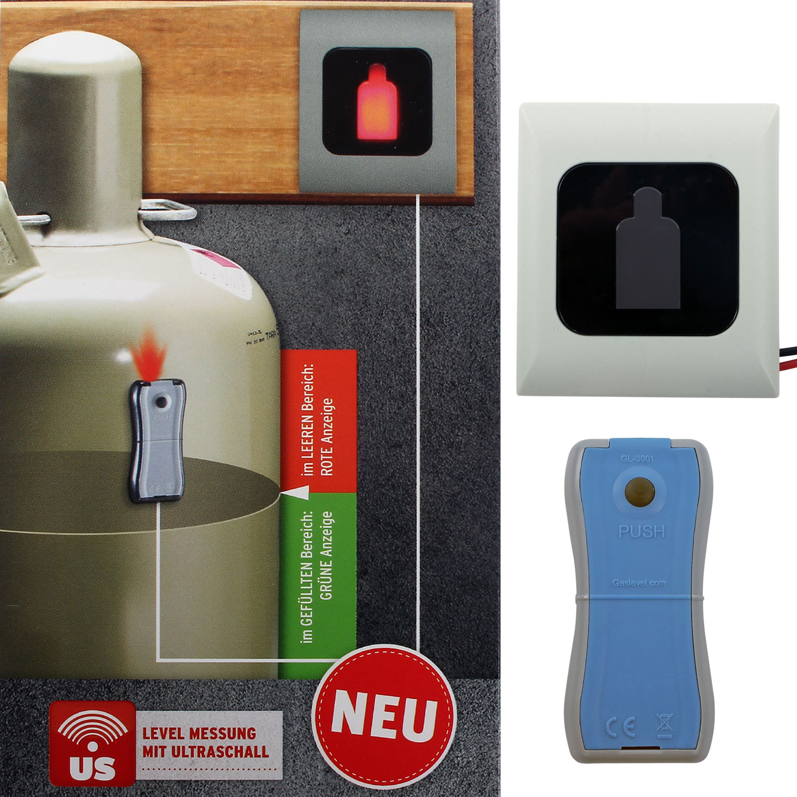 Gasflaschen Füllstandsanzeiger Gaslevel  GL3001 inkl. Fernanzeige
