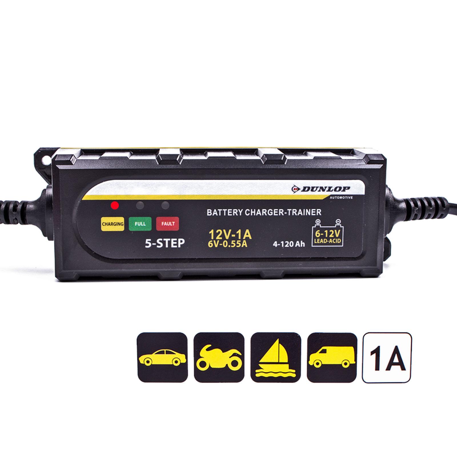 Dunlop Batterieladegerät 6/12 Volt für Blei-Säure und Gel Batterien