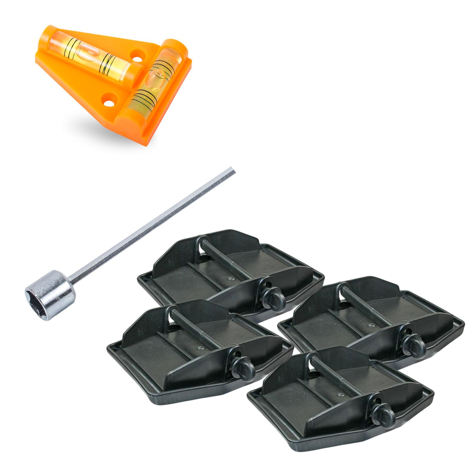 Stützplatten inkl Akkuschrauberaufsatz 13cm und Wasserwaage