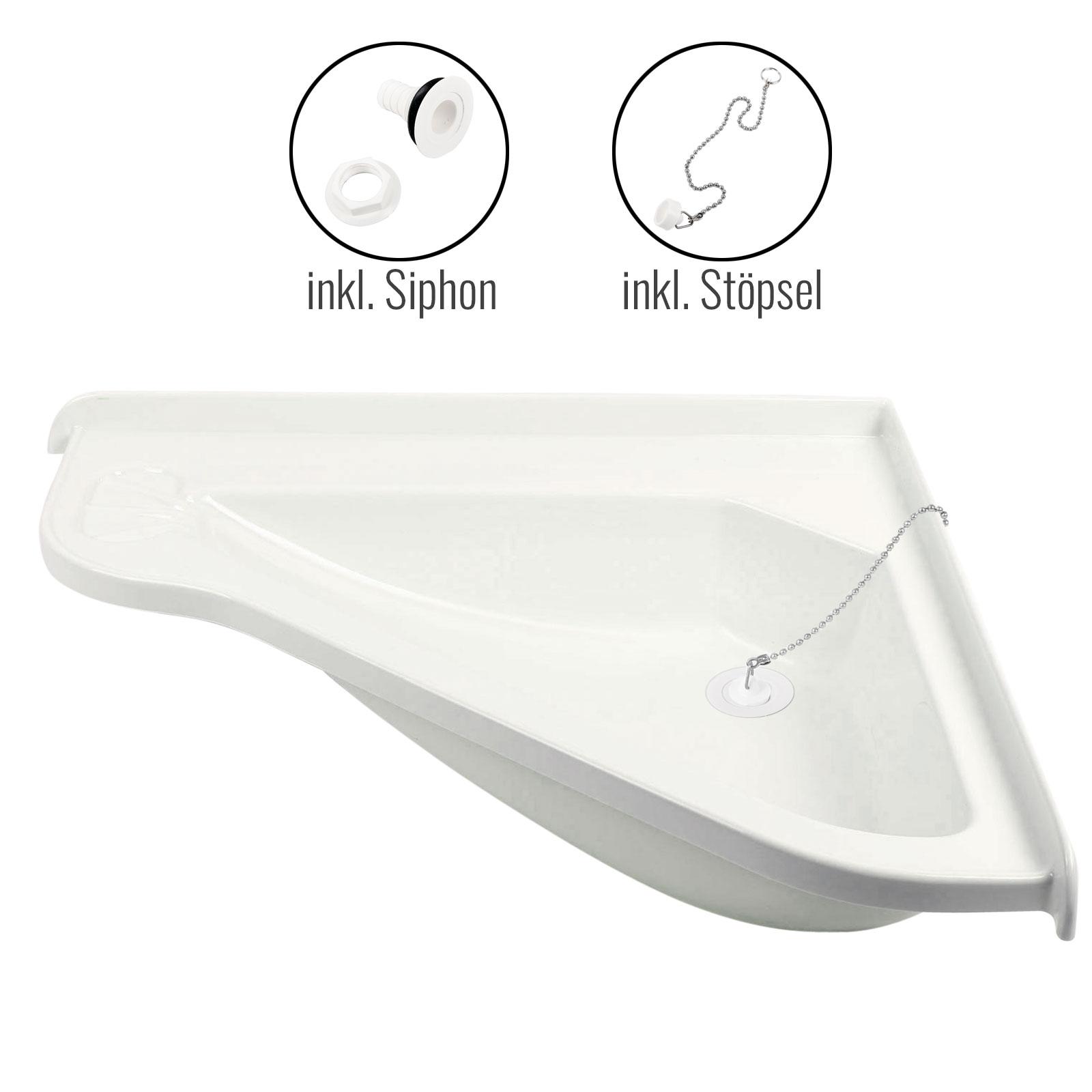 Eckwaschbecken groß + Ablauf Wasserablaufgarnitur Schlauch 3/4'
