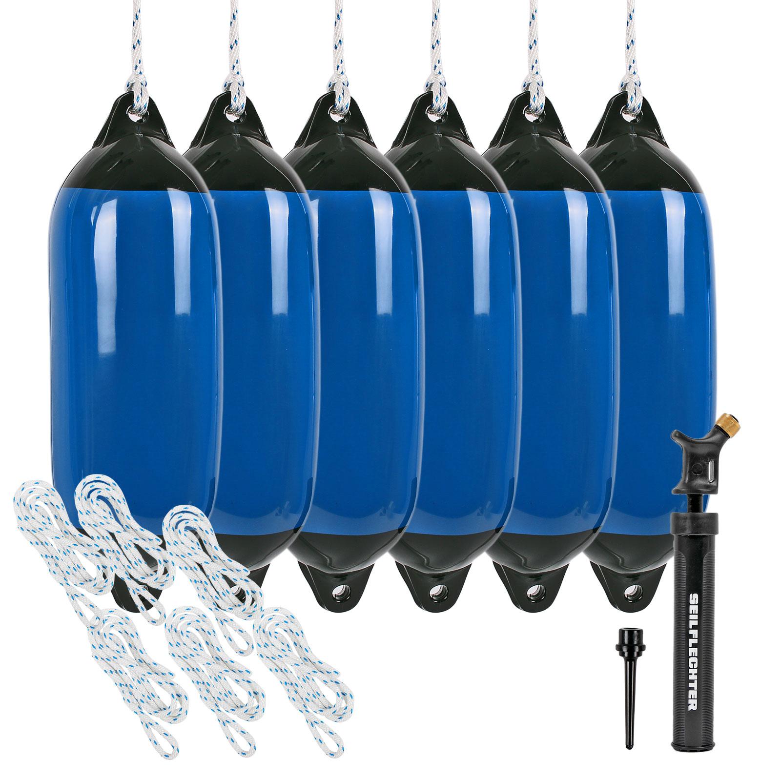 6x Fender blau groß mit Pumpe und 6x Fenderleine
