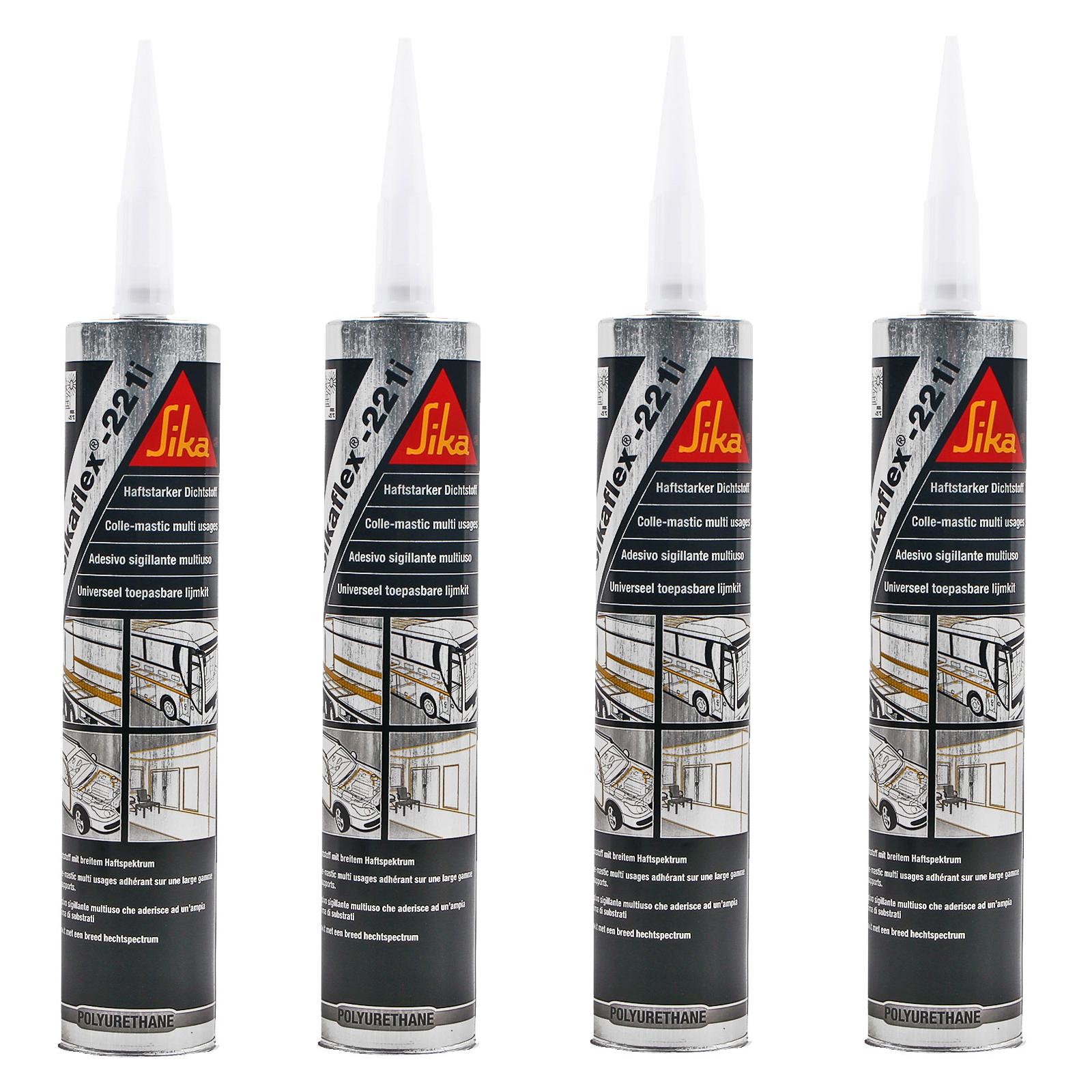 4x Sikaflex 221i weiß 300 ml dauerelastisch, überlackierbar