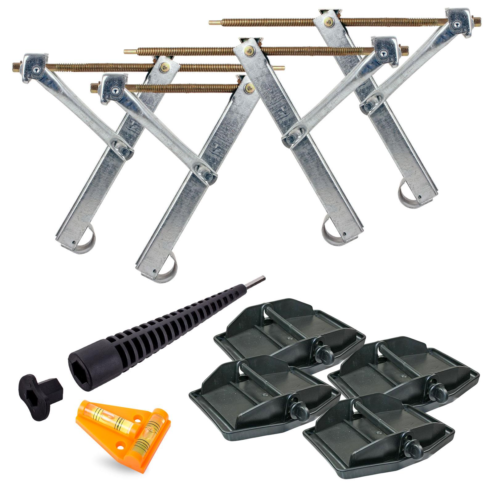Ausdrehstützen Set + Stützplatten + Akkuschrauberaufsatz + Wasserwaage