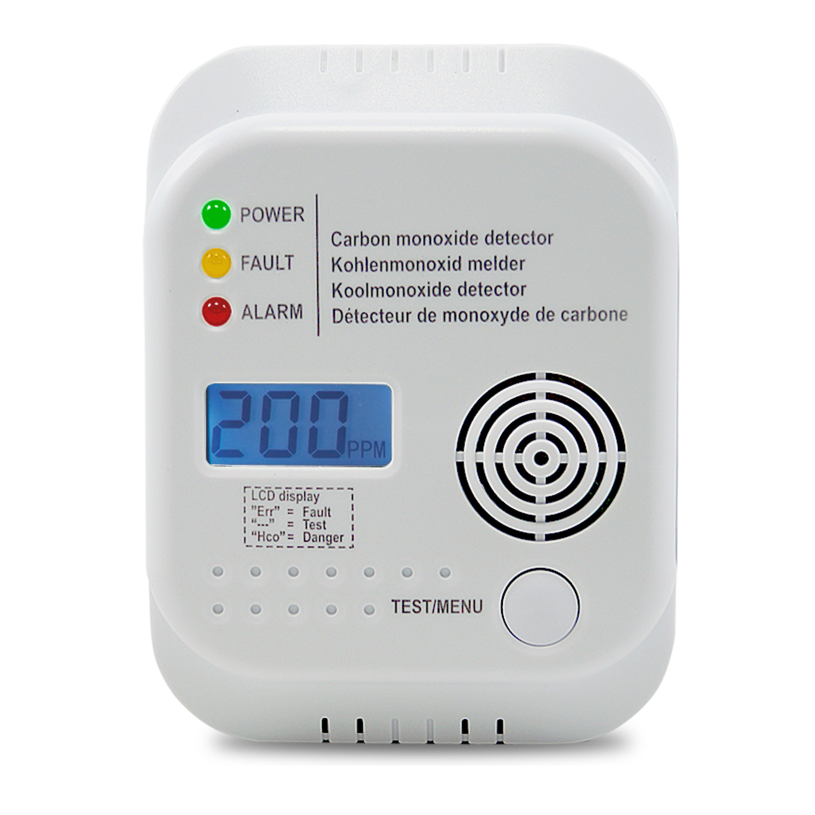 Gasmelder für Kohlenmonoxid inkl. 3x AA Batterien
