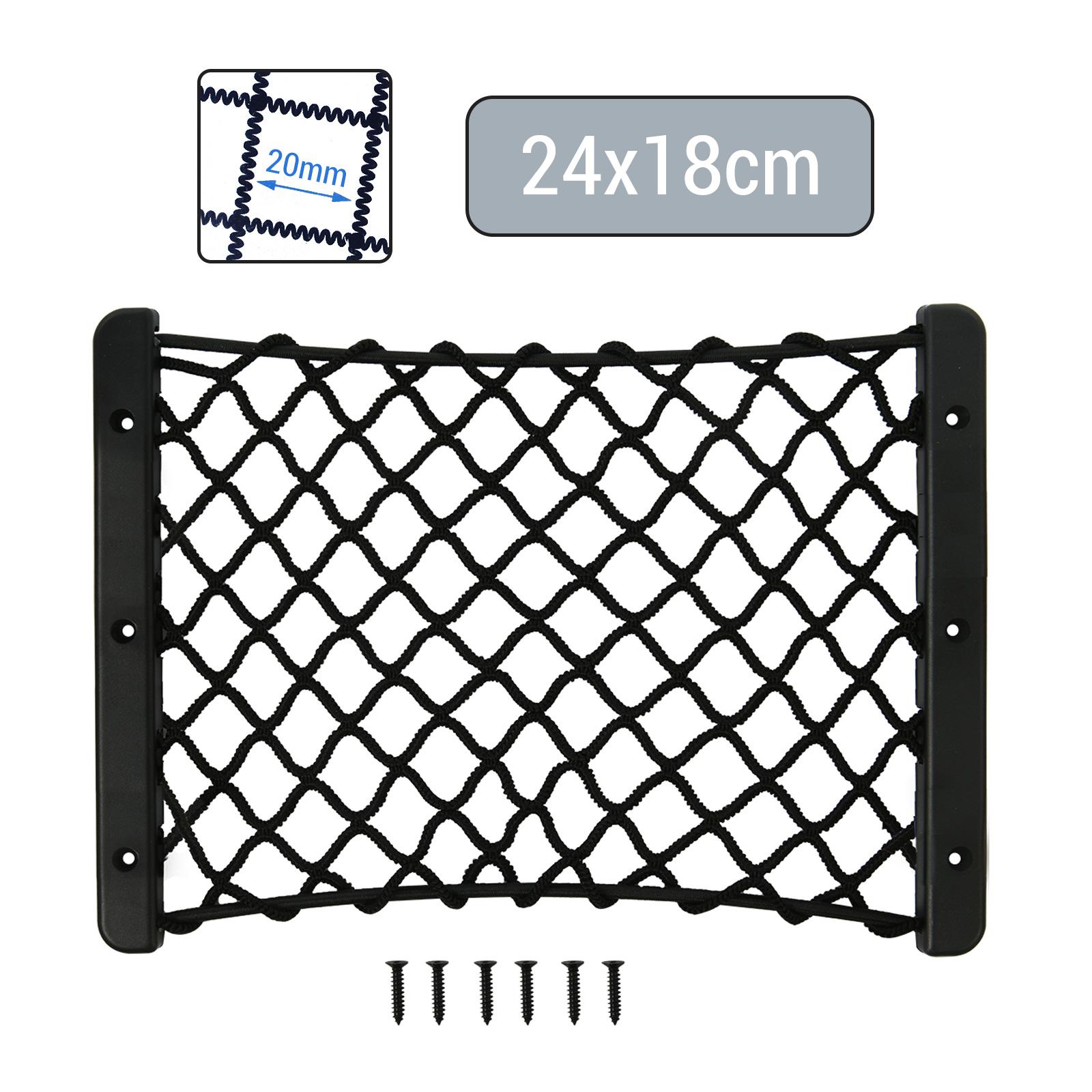 Kofferraumnetz Ablagenetz elastisch 24 x 18 cm mit Rahmen inkl Schrauben