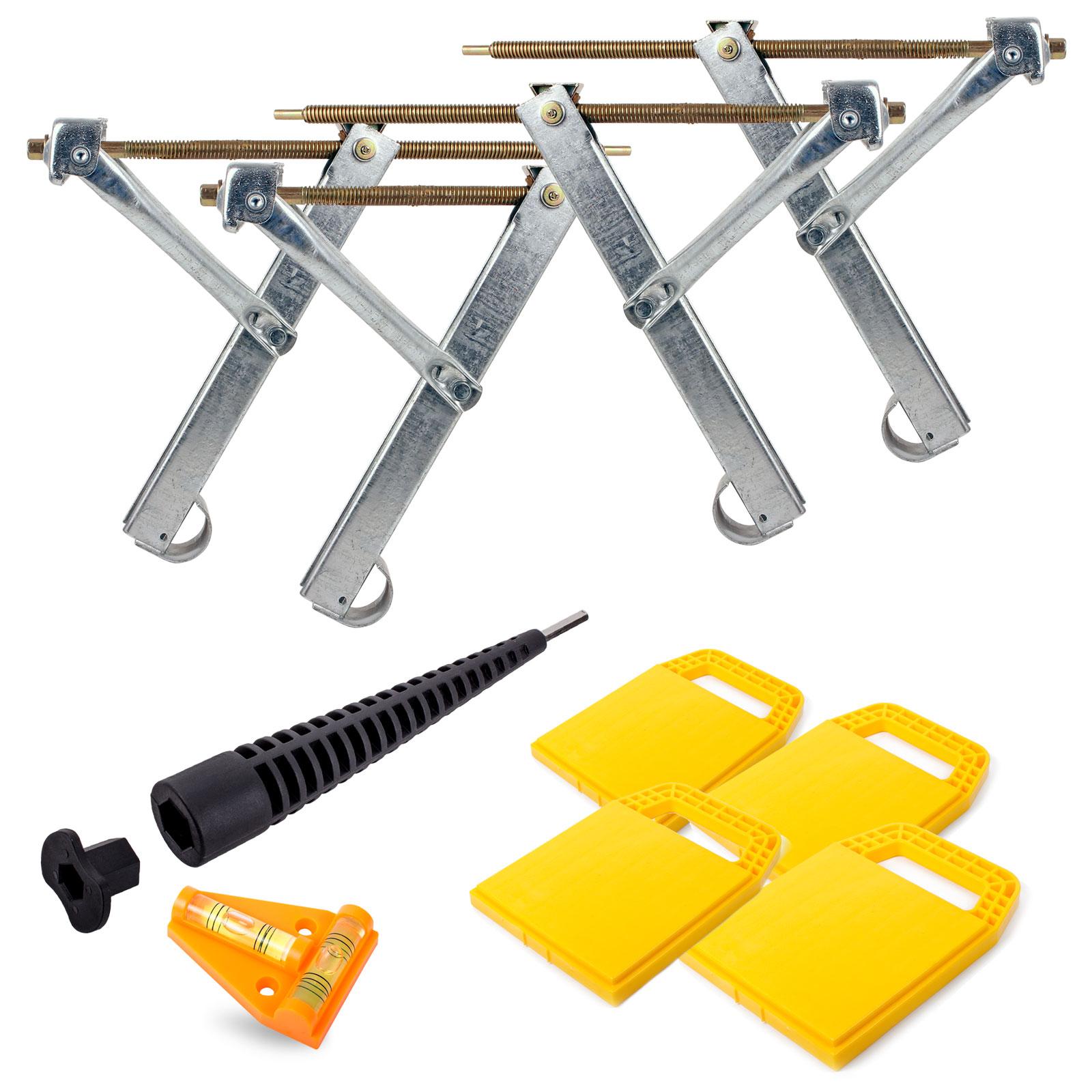 Ausdrehstützen Set + Camco Stützplatten + Akkuschrauberaufsatz + Wasserwaage