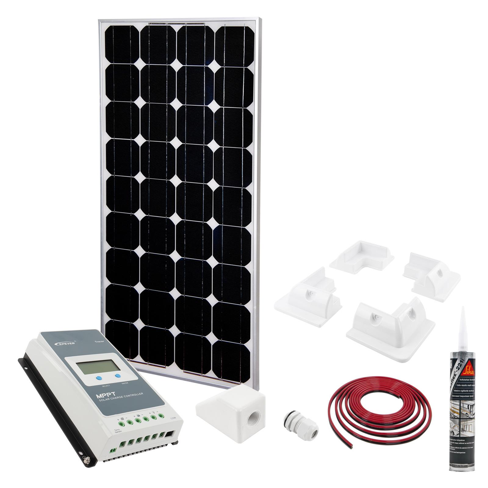 Solar Panel Set 160W | MPPT Regler | Halter | 5M Kabel | Sika | Dachdurchführung