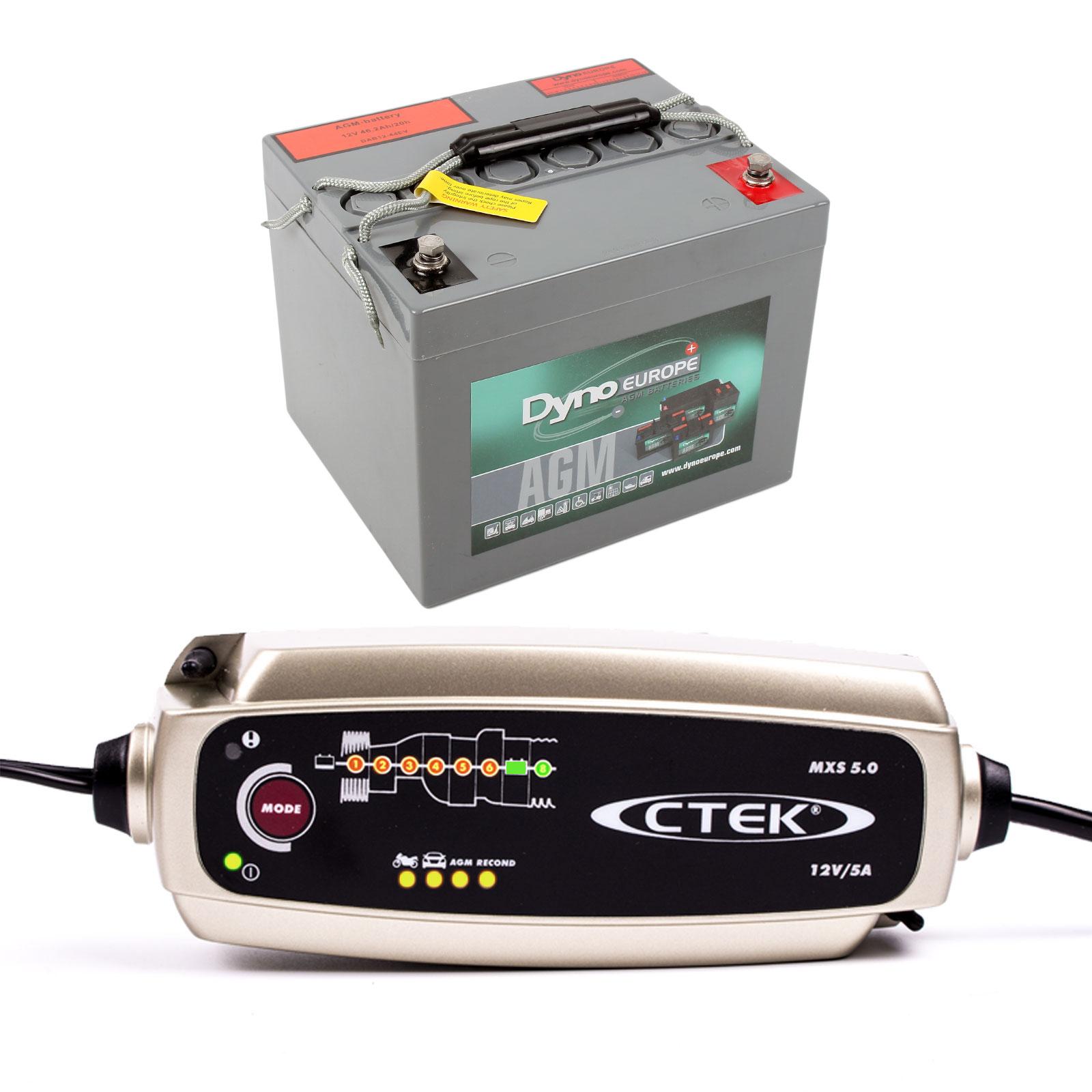 Batterieset für elektrische Wohnwagen Rangierhilfe 40 Ah , inkl C-tek Ladegerät