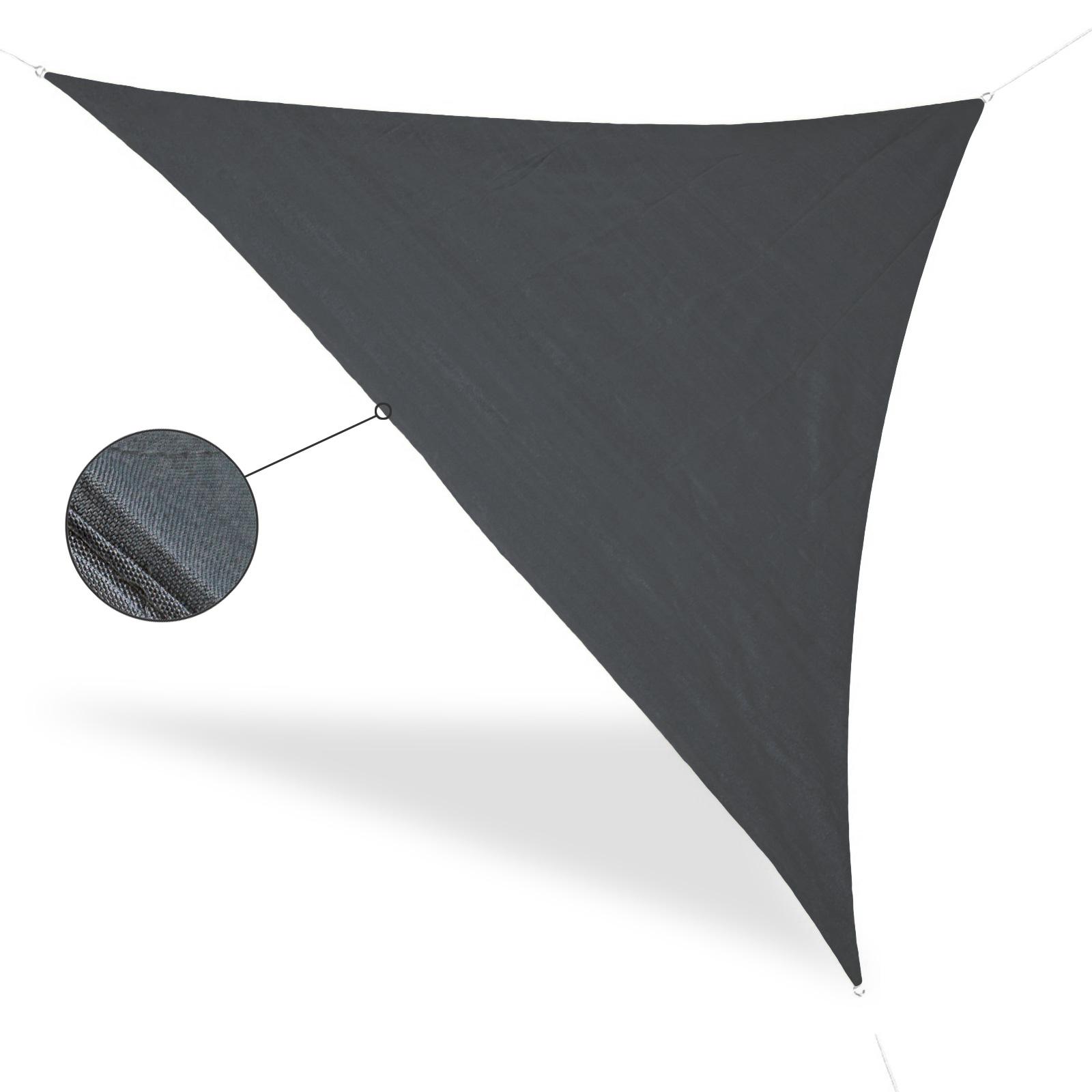 Sonnensegel Dreieck Grau 5 x 5 x 5 m, Metallringe, Abspannleinen