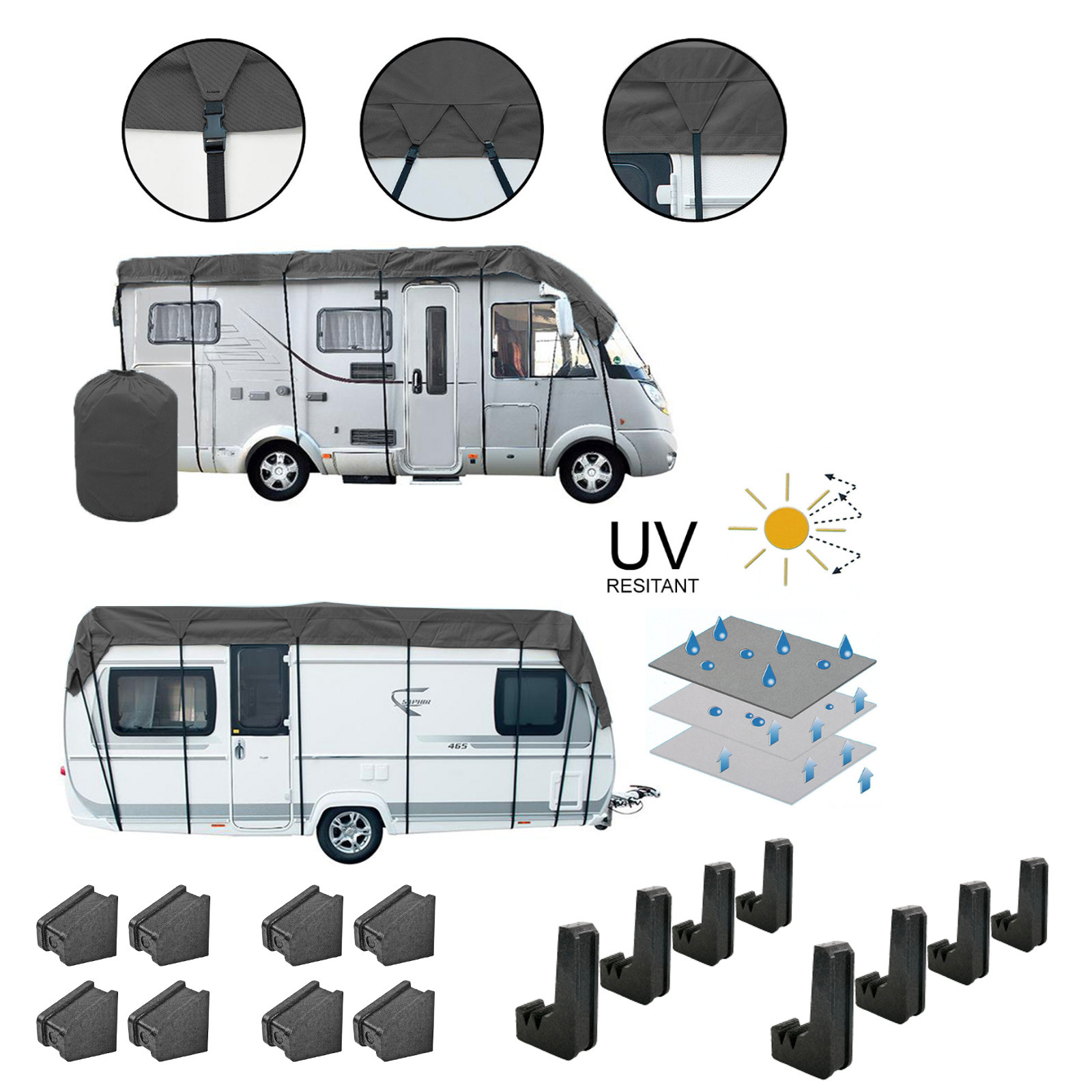 Wohnwagen & Wohnmobil Schutzdach 5x3 Meter Winter geeignet + 8er Set Schutzecken