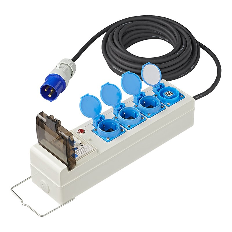 Zelt Steckdose CEE 10M 3x2,5mm² mit FI USB 3x Schuko Dachzelt Steckdosenleiste