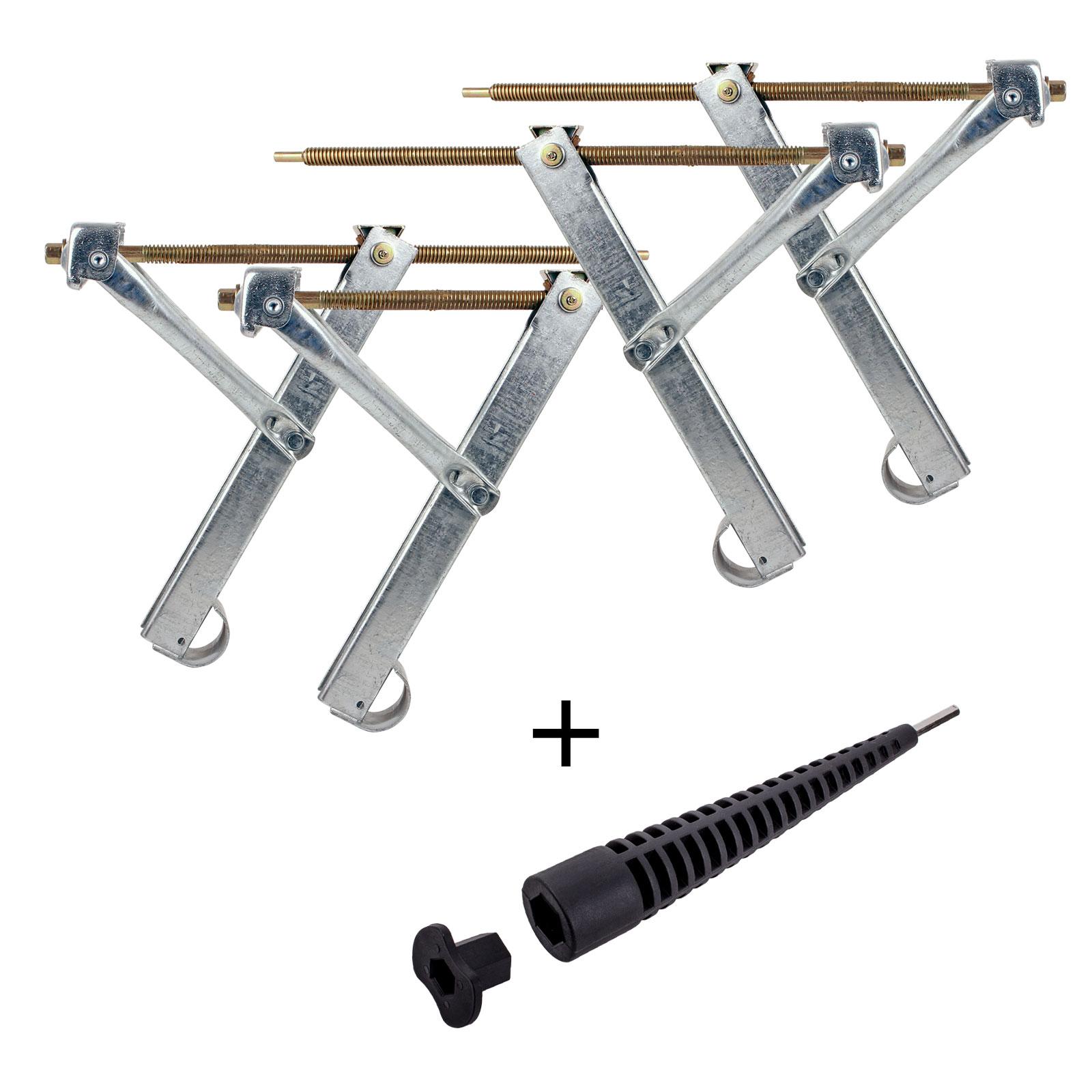 Ausdrehstütze Set 4 Stück Traglast 500 Kg + Akkuschrauberaufsatz 13/19 mm