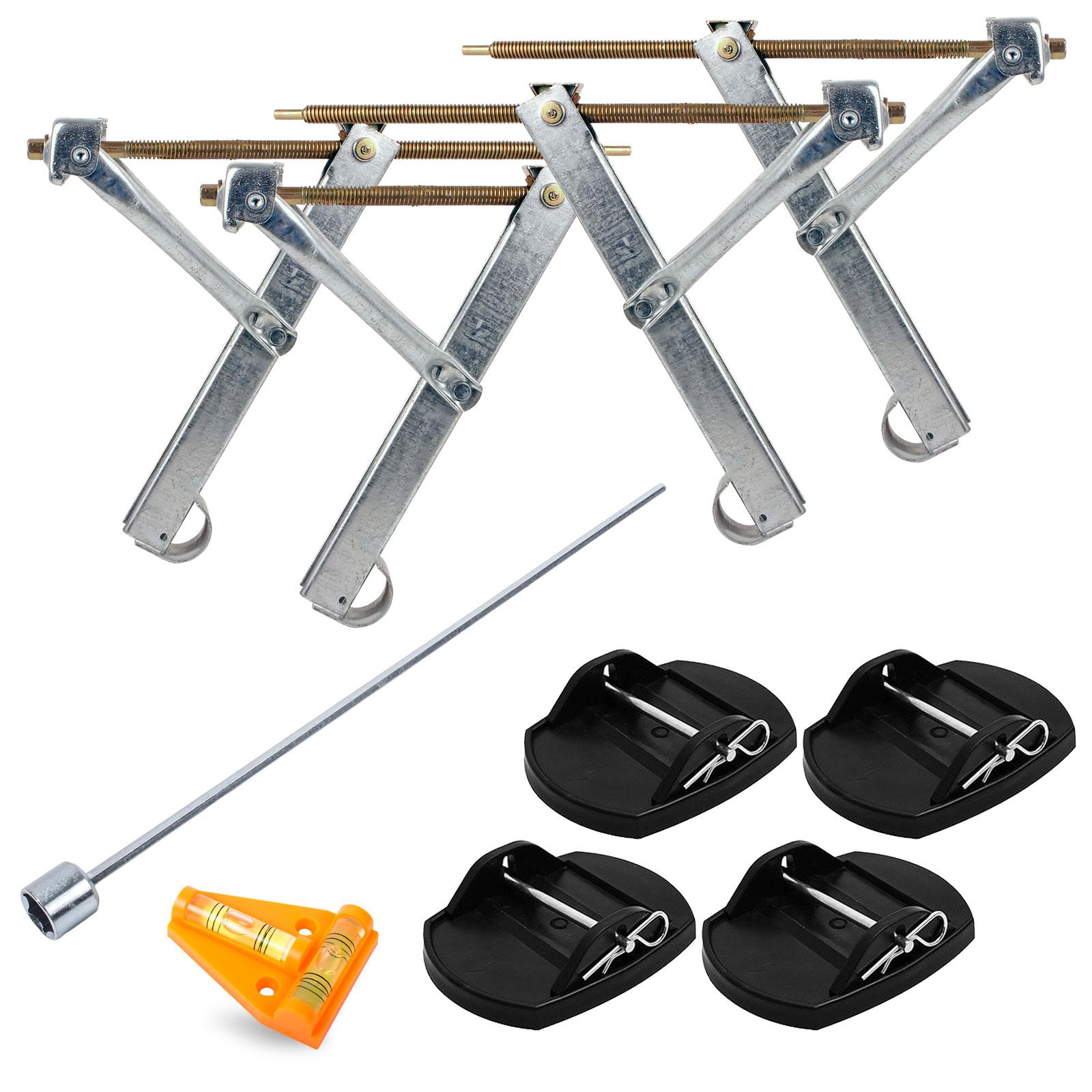Ausdrehstützen 4 st. + Akkuschrauberaufsatz + Proplus Stützplatten + Wasserwaage