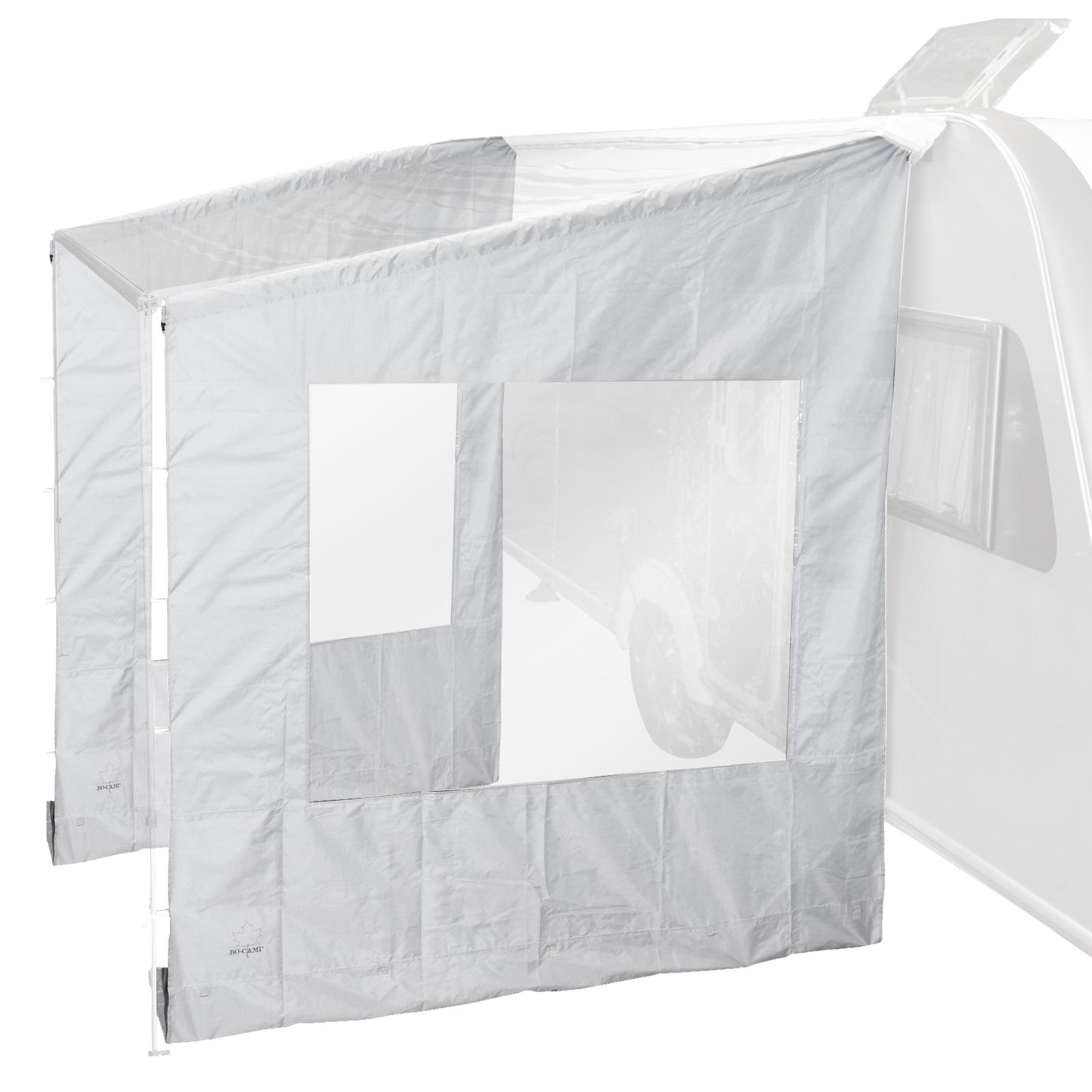 2x Universal-Seitenwand mit Fenster für Markise, grau, 225x213x290 cm