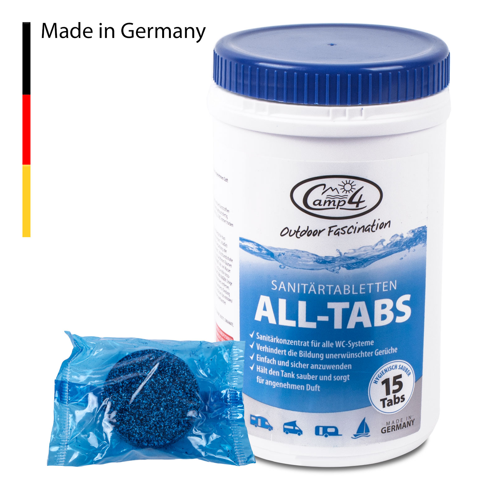 Camp4 All Tabs Toilettentabletten - 15 Stück für Abwassertanks