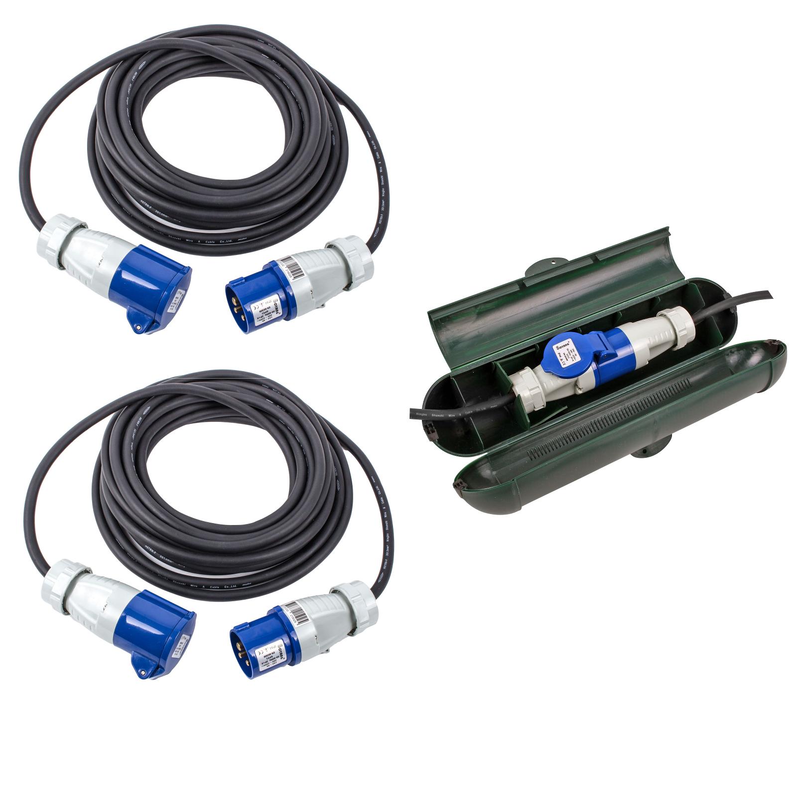 CEE Kabel Set bestehend aus 2x 10 Meter CEE Kabel + CEE Sicherheitsbox