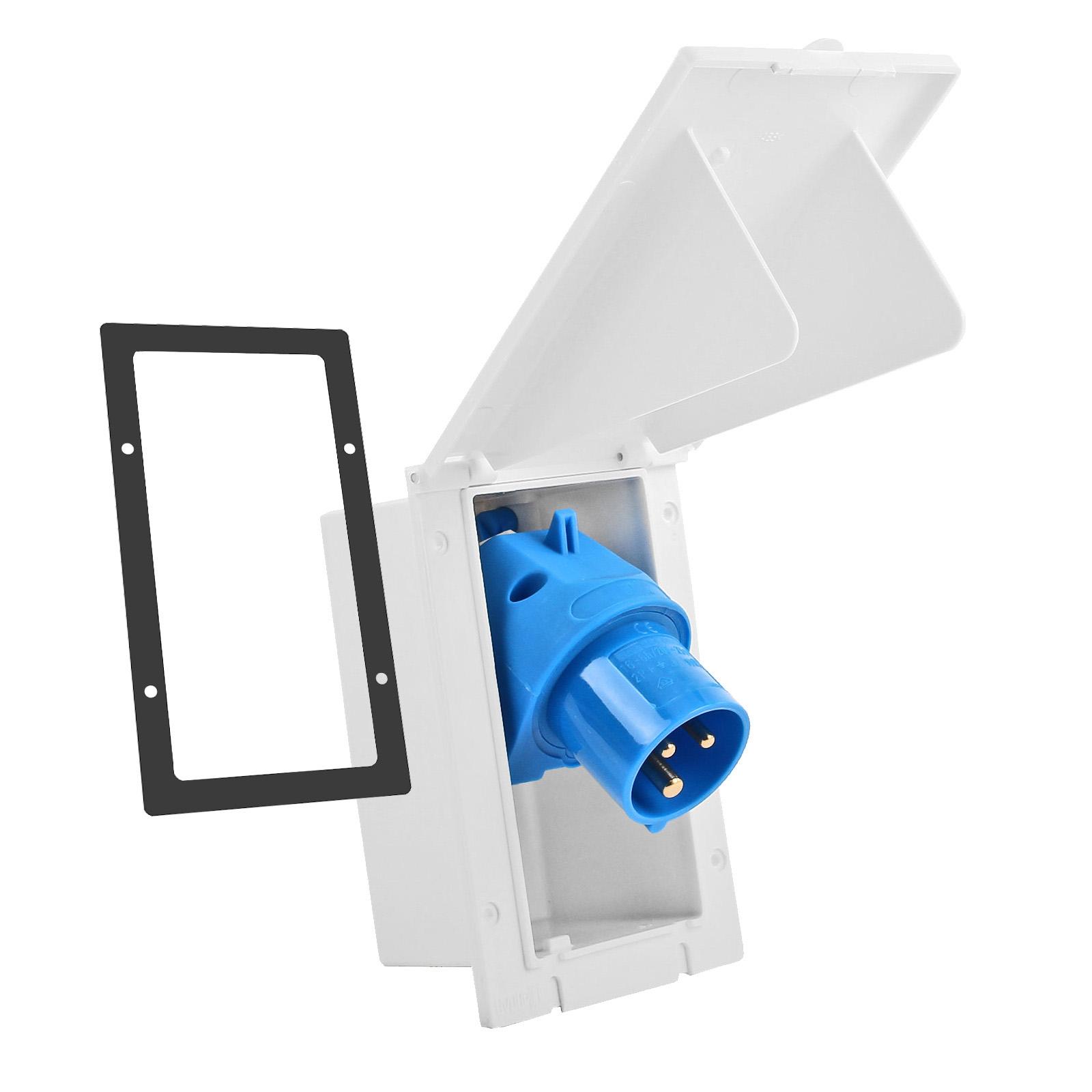 CEE Aussensteckdose weiß Spritzwasser geschützt 200-250V, 16A, 3 polig