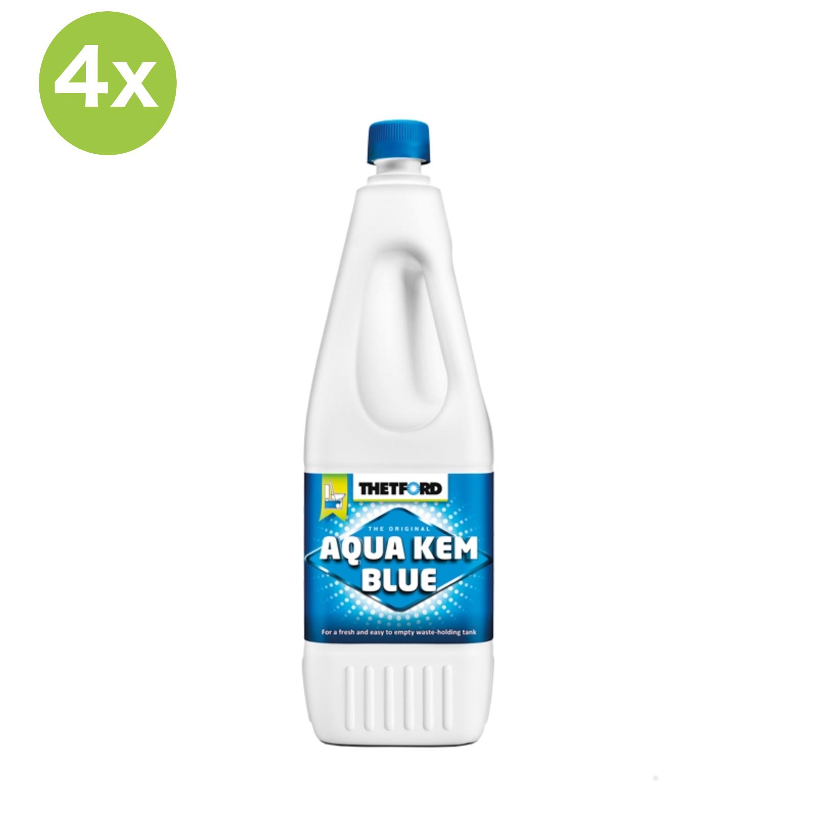 4x Thetford Aqua Blue Toiletten Zusatz für den Abwasserbehälter 2 L Flasche