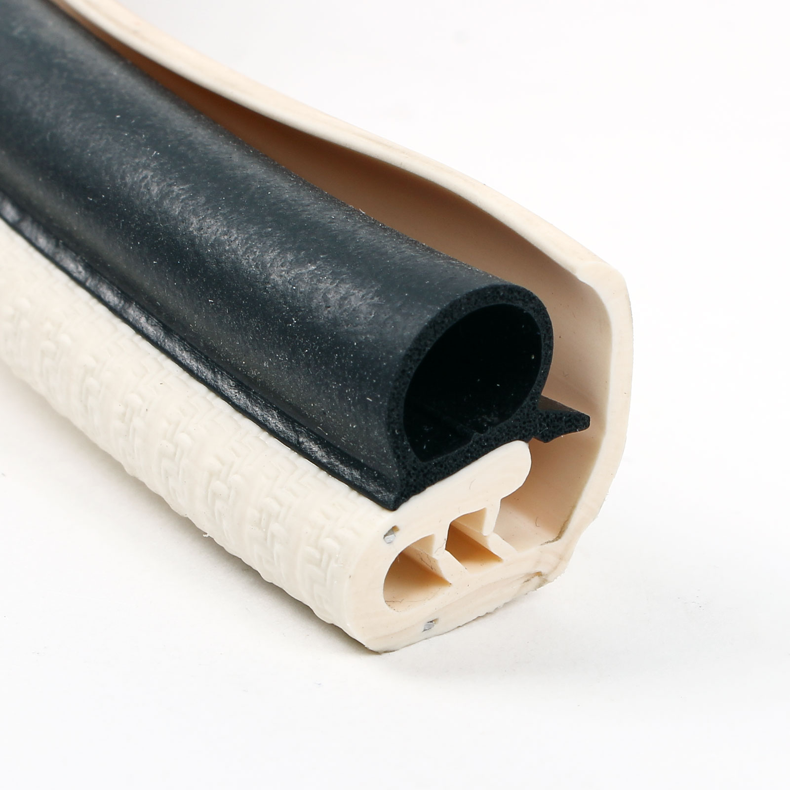 1 Meter Türdichtung Kantenschutz mit langer Abdecklippe Elfenbein Metallkern
