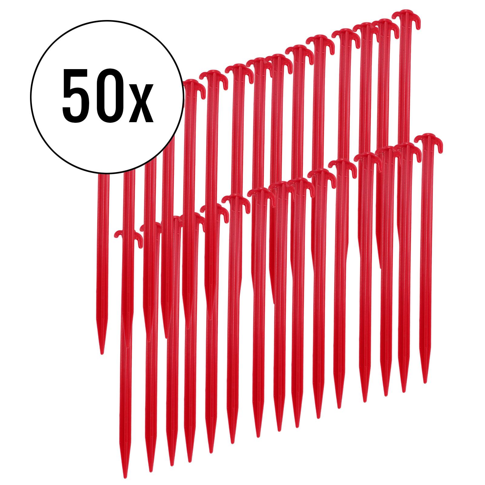 Zeltheringe 50er Set, rot, 30 cm, Kunststoff
