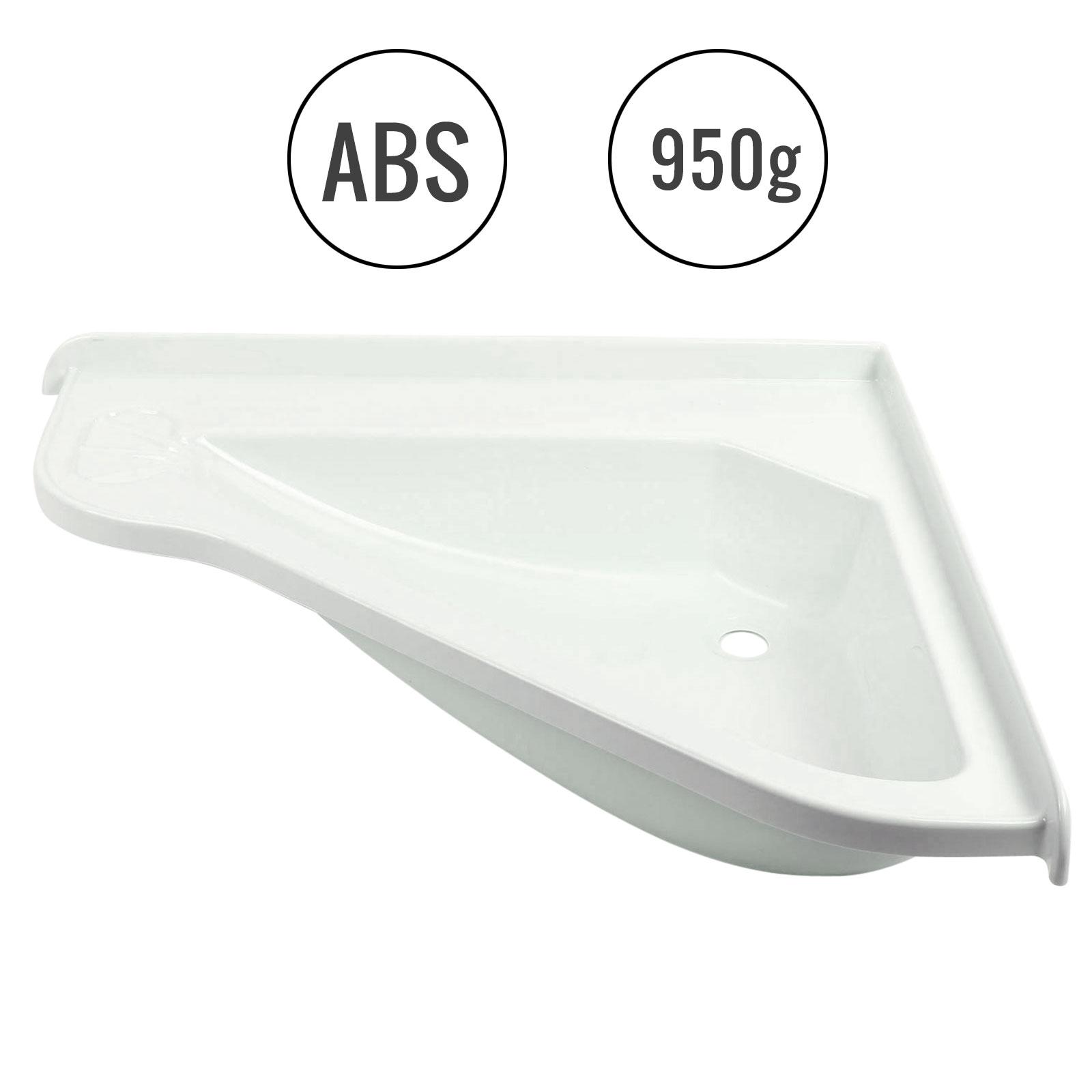 Eckwaschbecken groß 58 x 54 x 9 cm, ABS-Kunststoff, weiß
