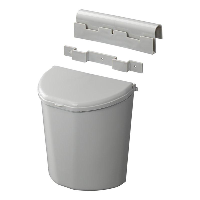 Abfalleimer XL 10 Liter grau | + Halterung | kompaktes Maß | 18,8x30,3x30,8cm